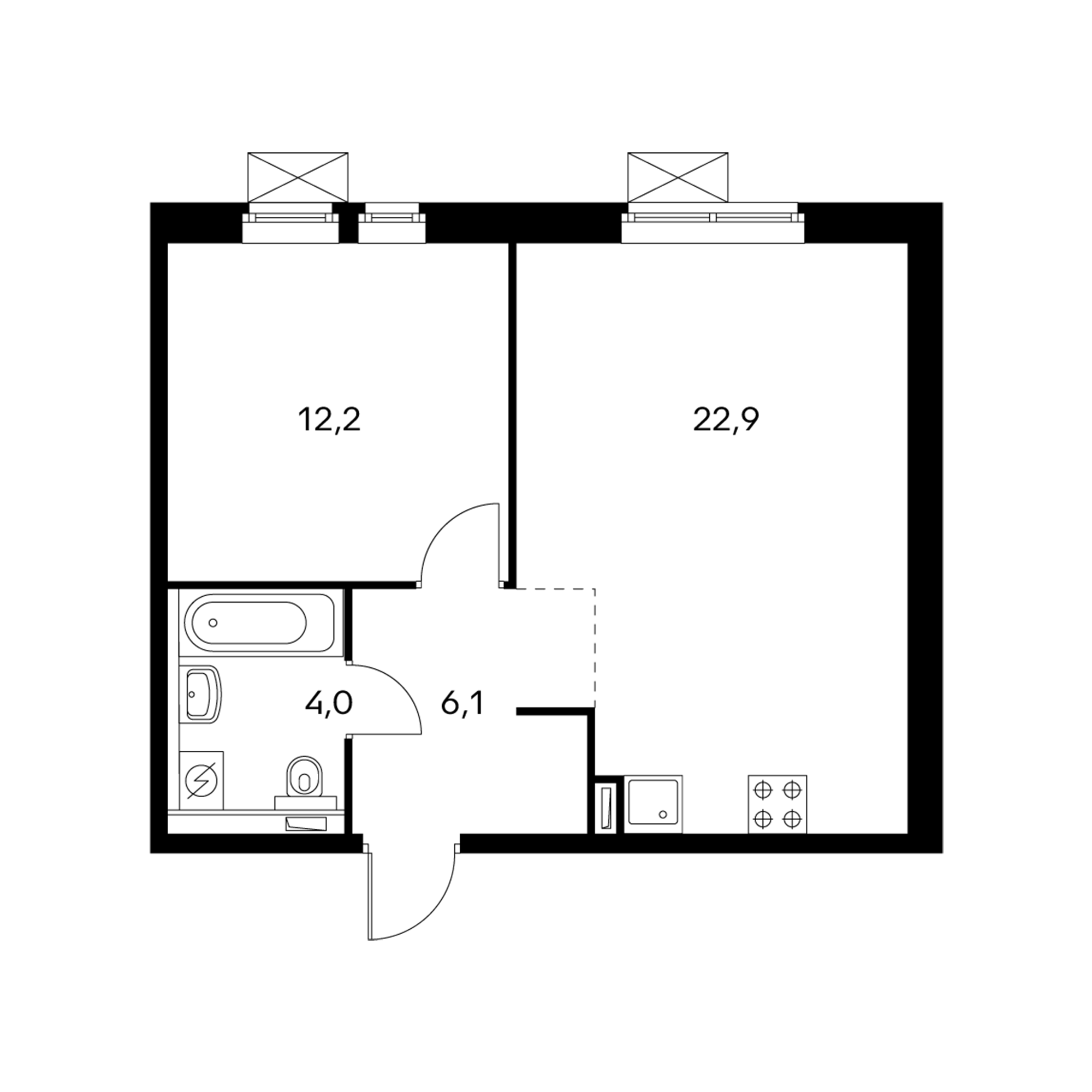 1-комнатная 45.2 м²