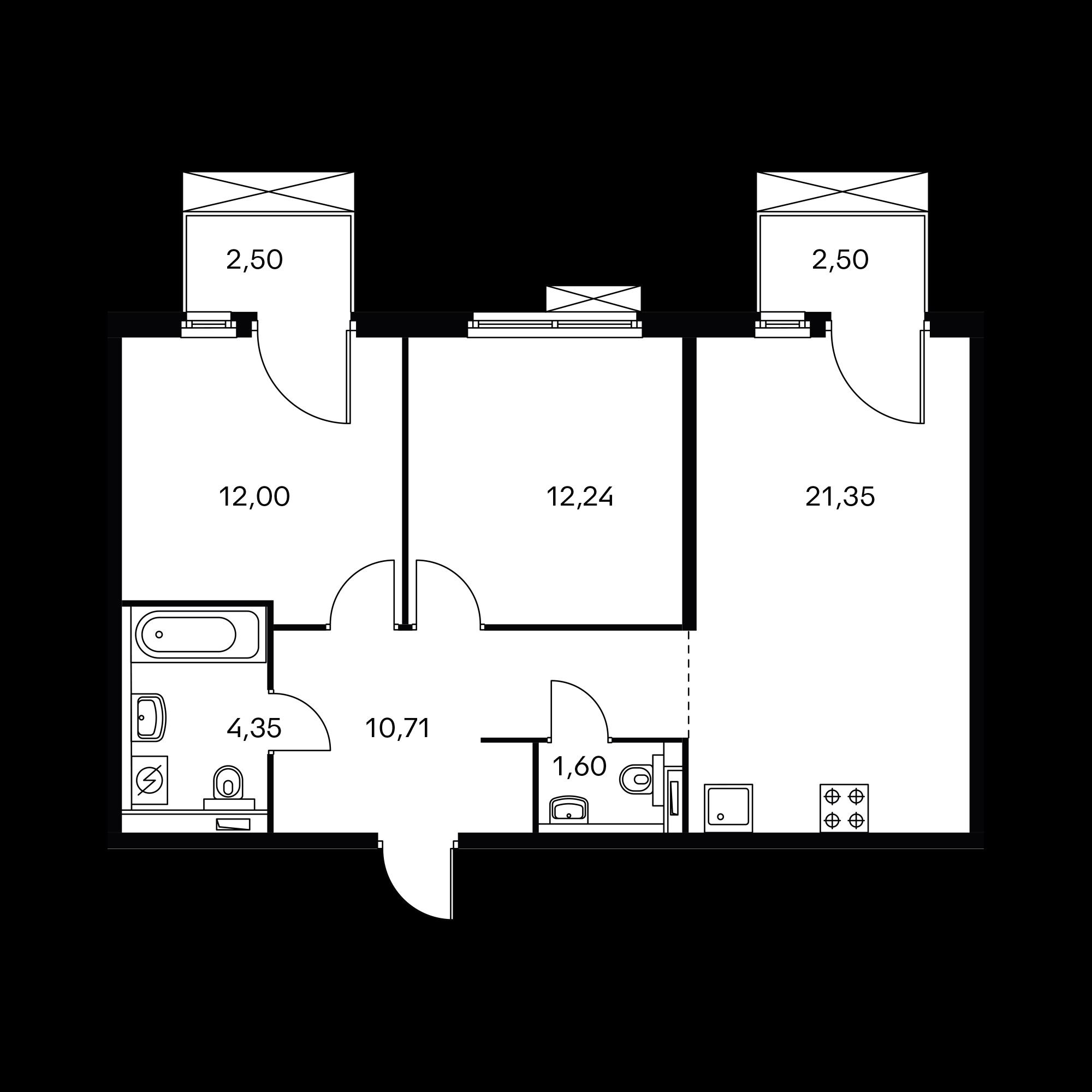 2-комнатная 63.75  м²