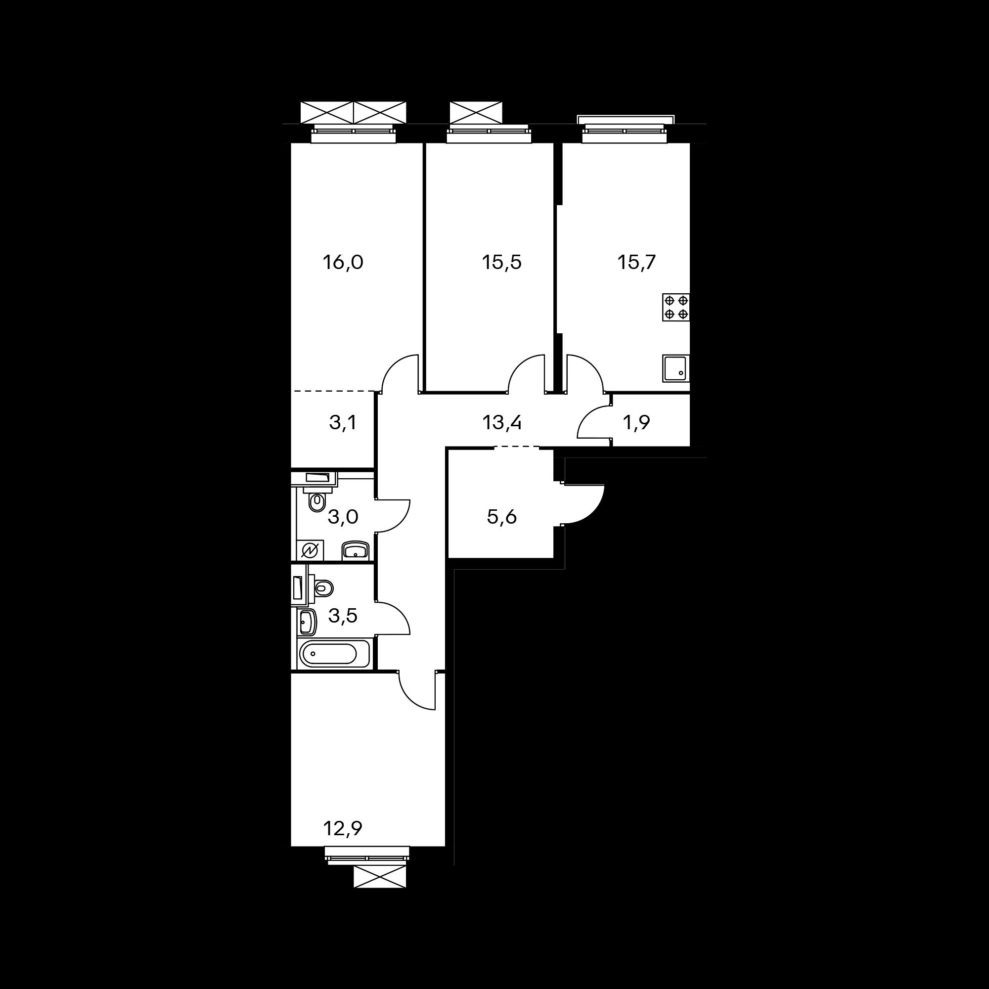 3-комнатная 90.6  м²