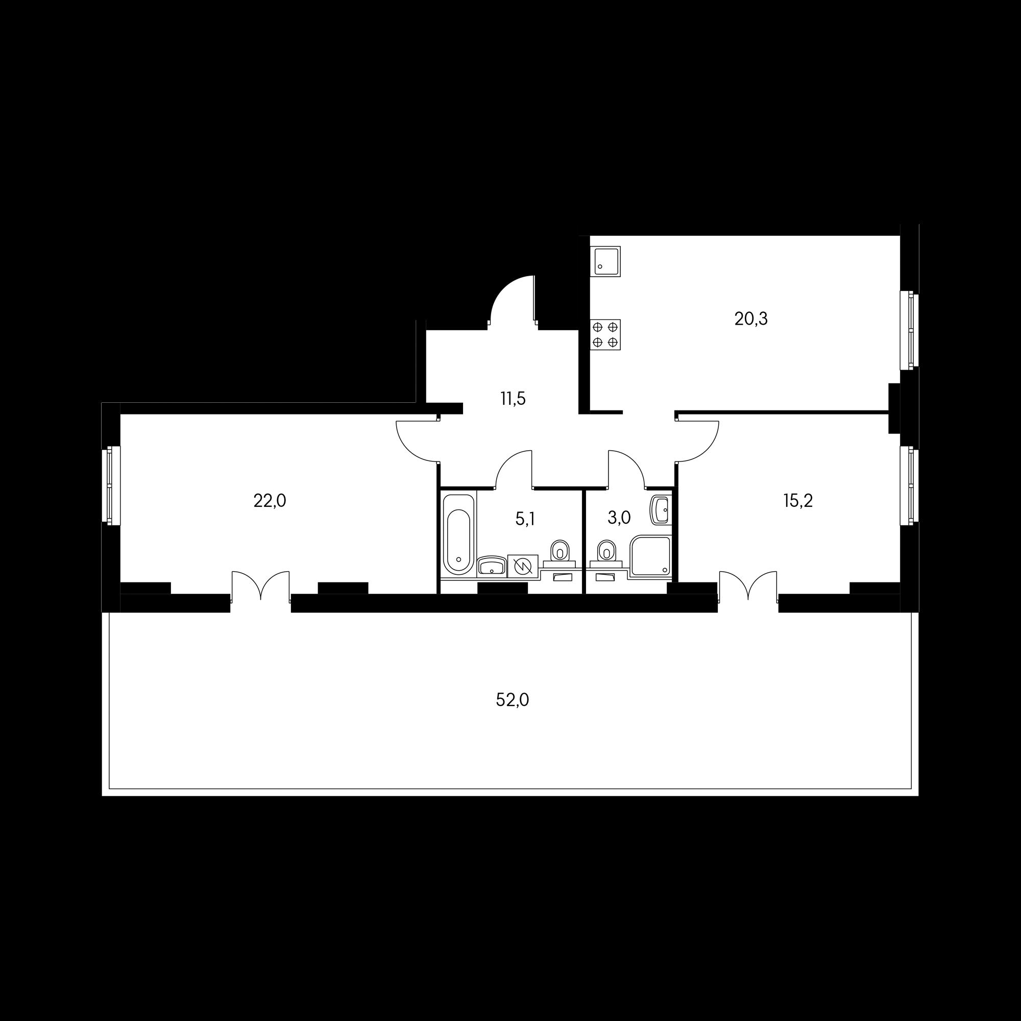 2-комнатная 92.7 м²