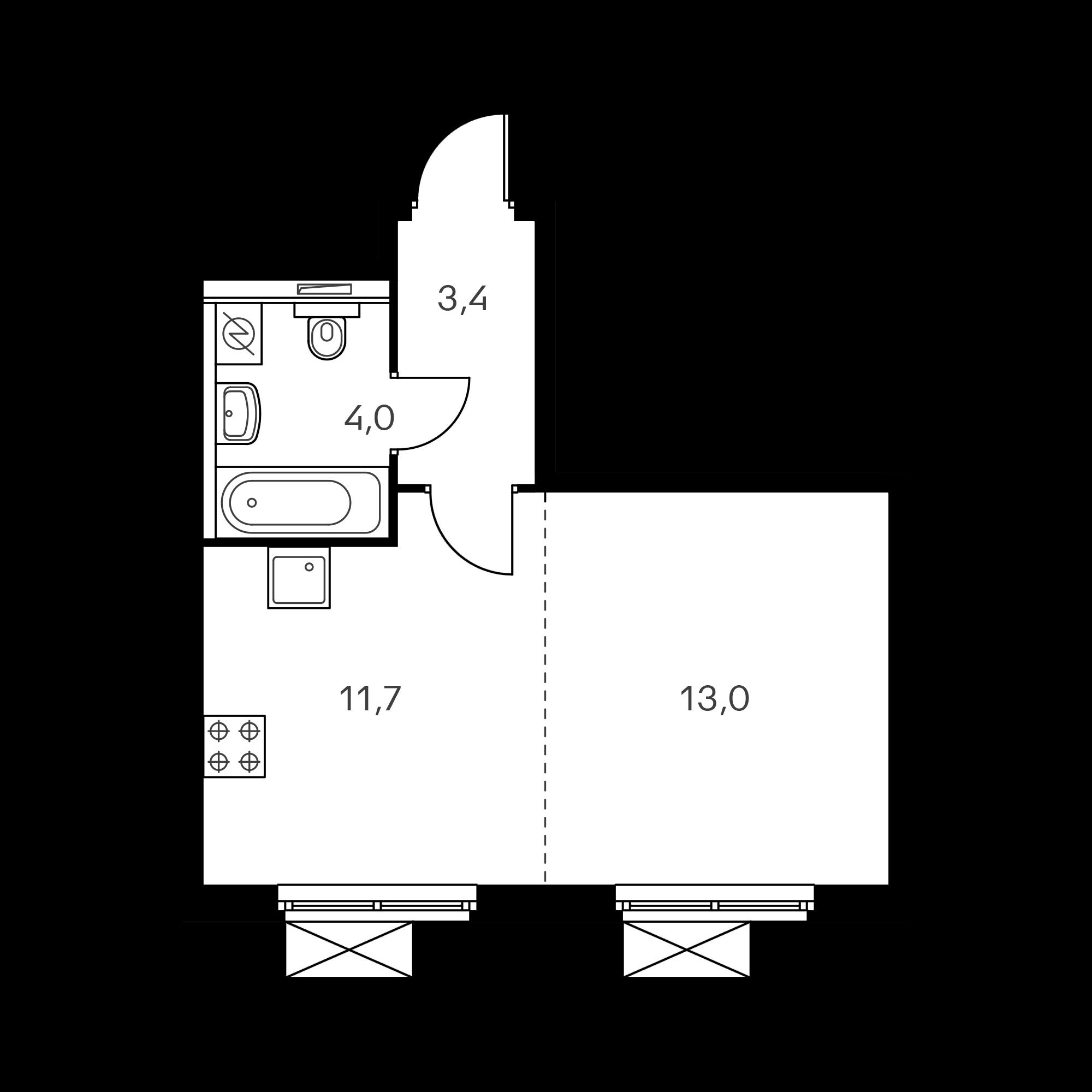 1-комнатная 32.2  м²