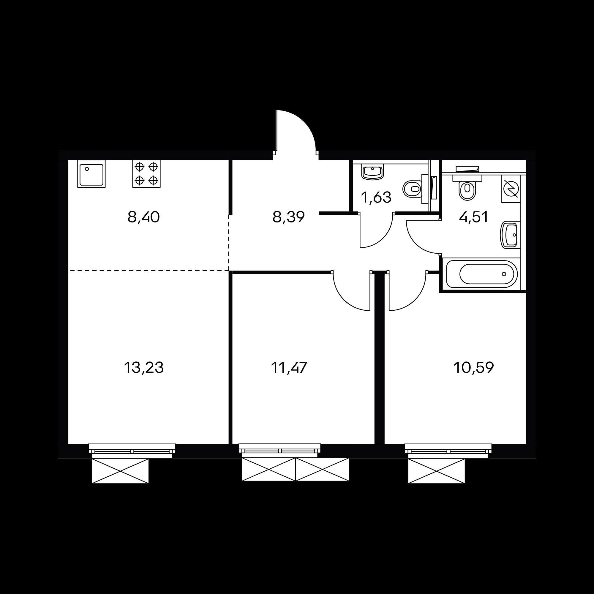 3-комнатная 58.2 м²