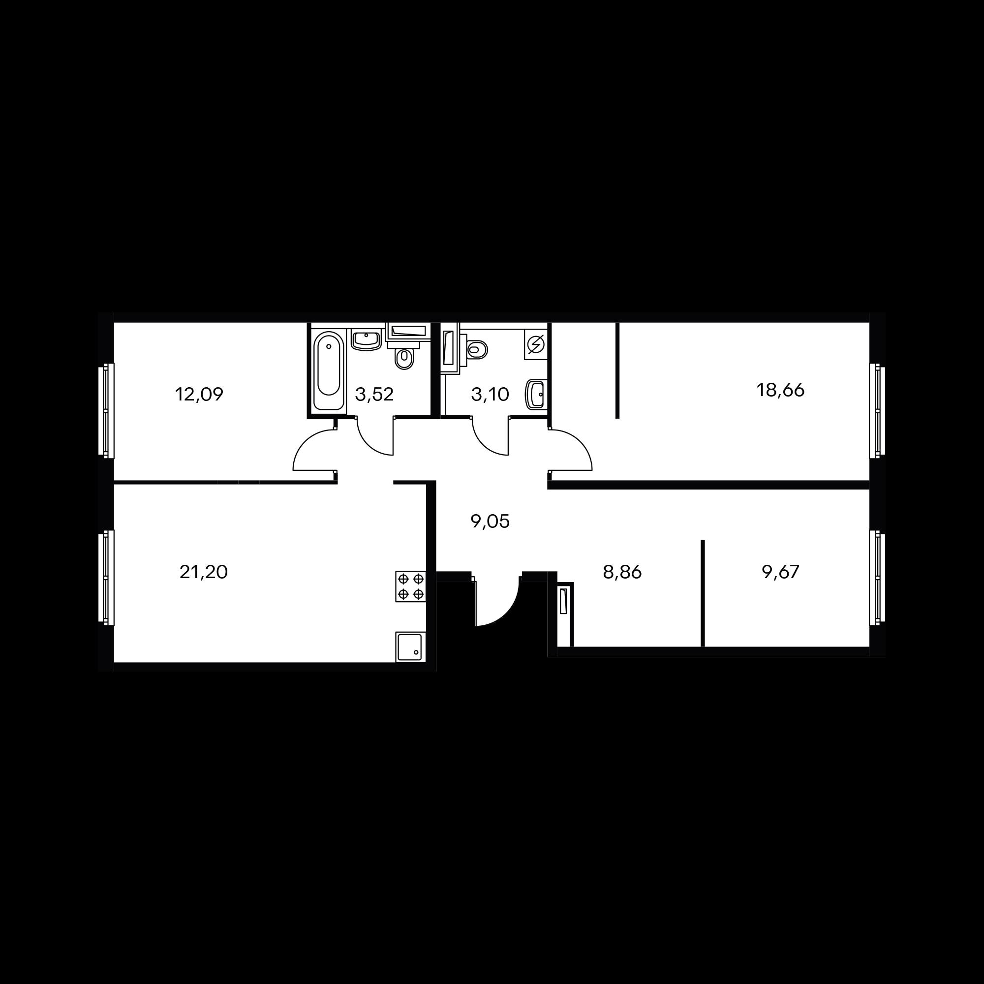 3-комнатная 86.15  м²