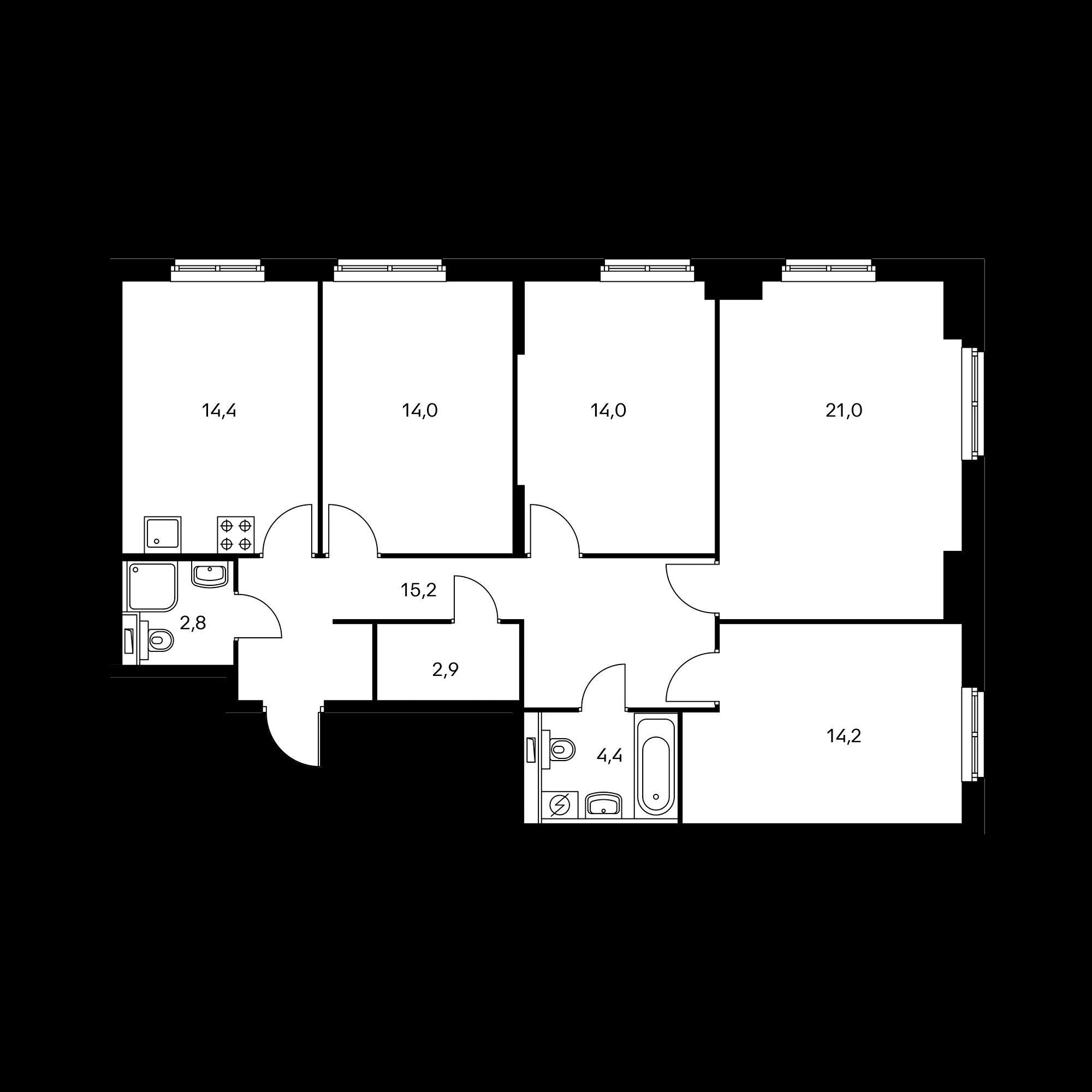 4-комнатная 101.6  м²