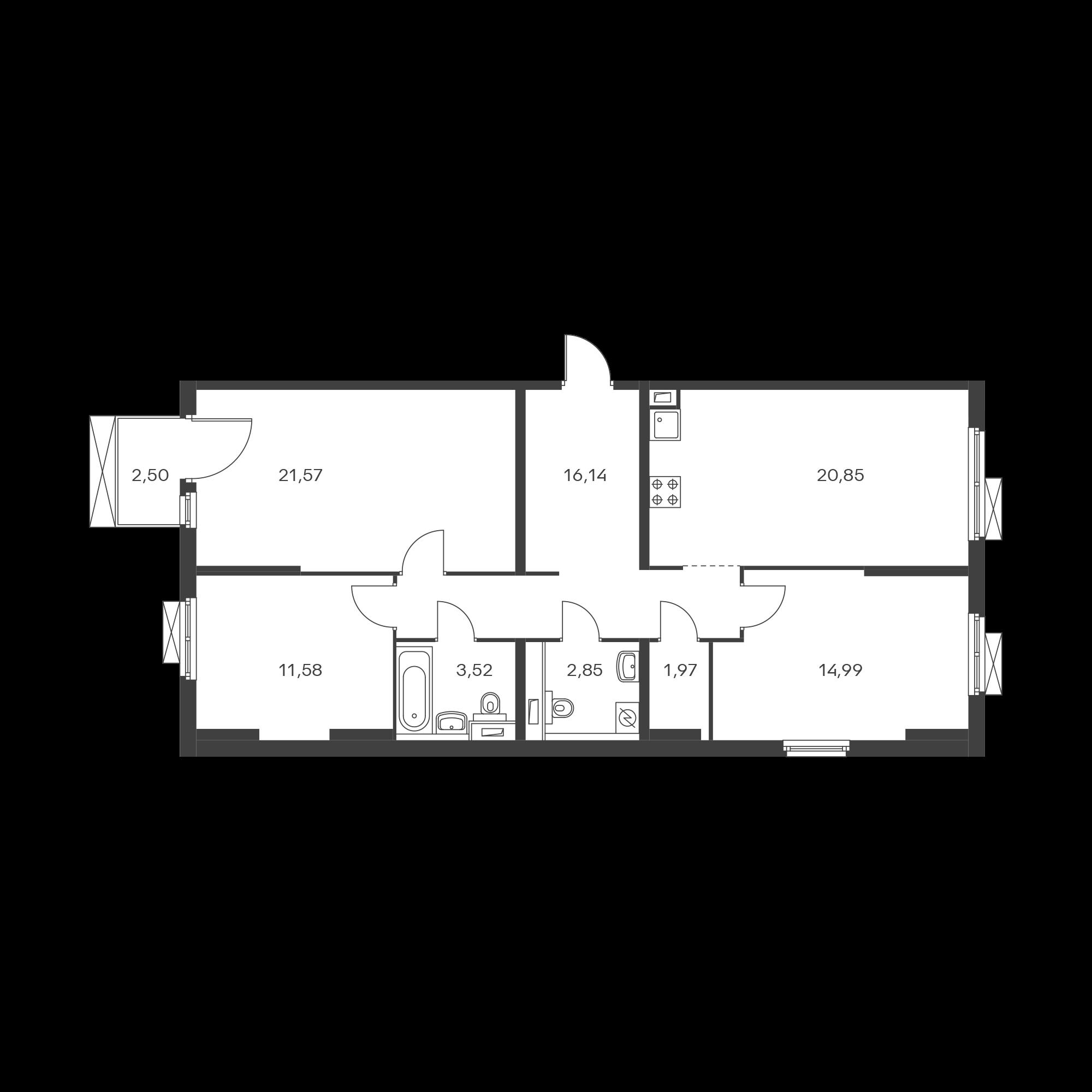 3-комнатная 94.22 м²