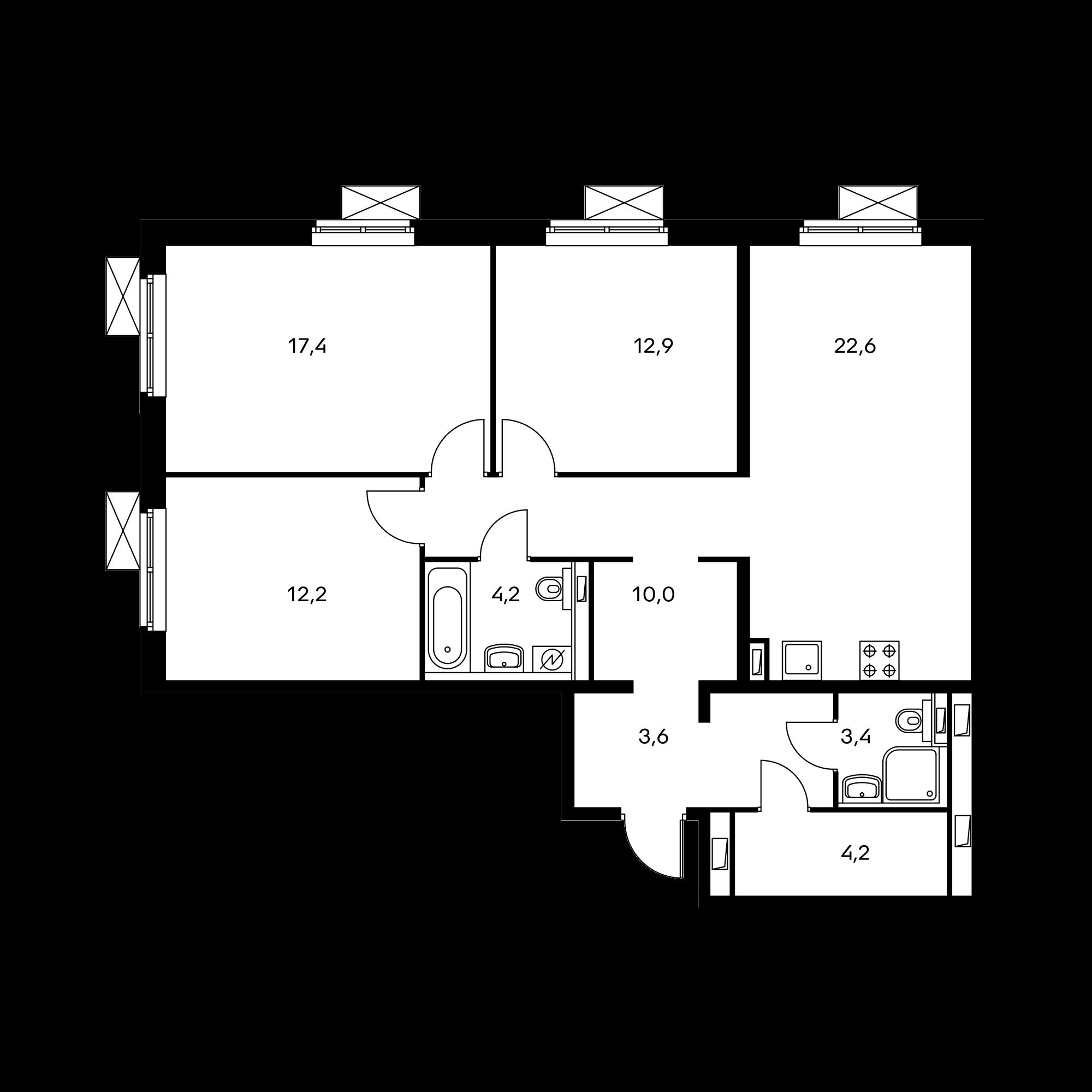 3-комнатная 93.1  м²