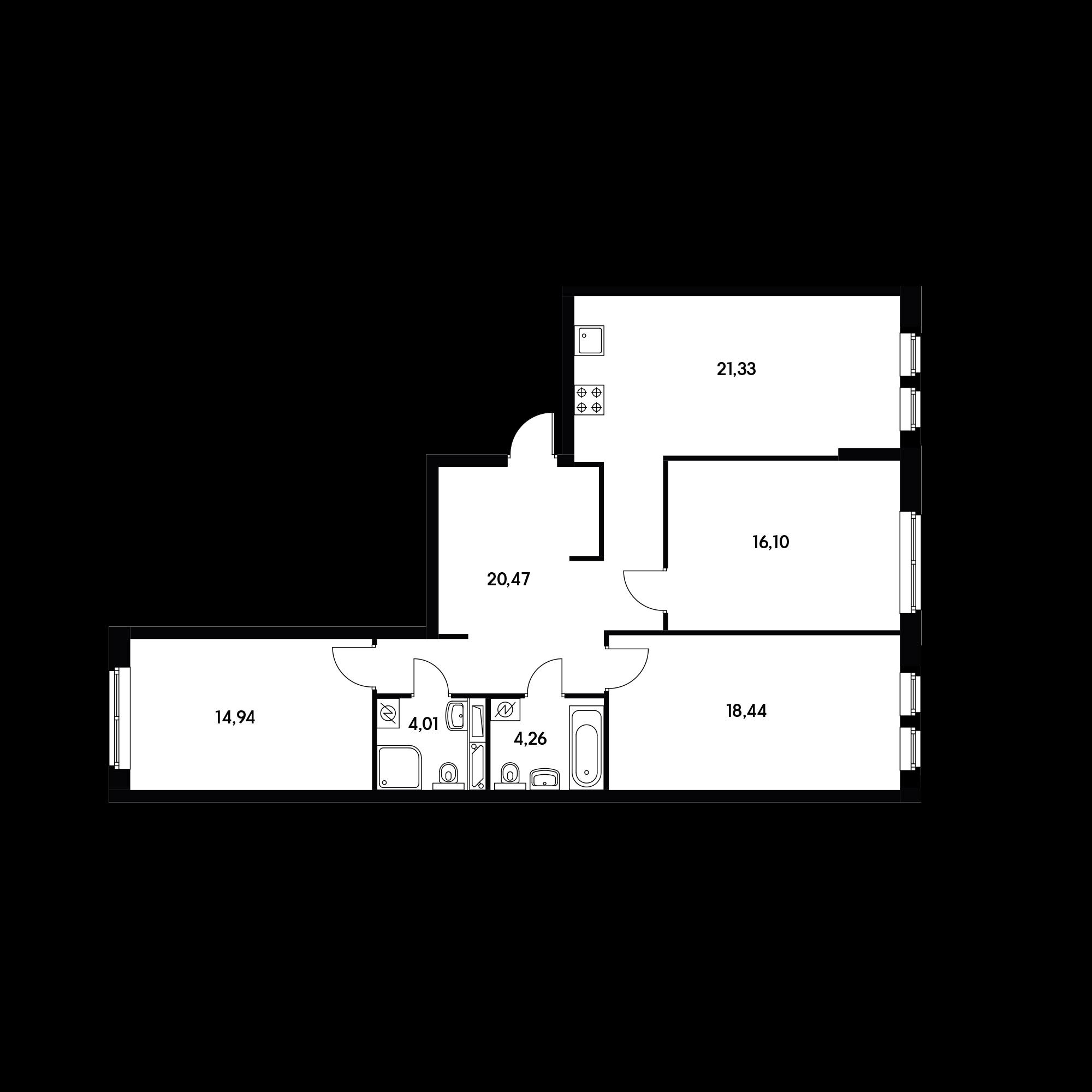 3-комнатная 99.61 м²