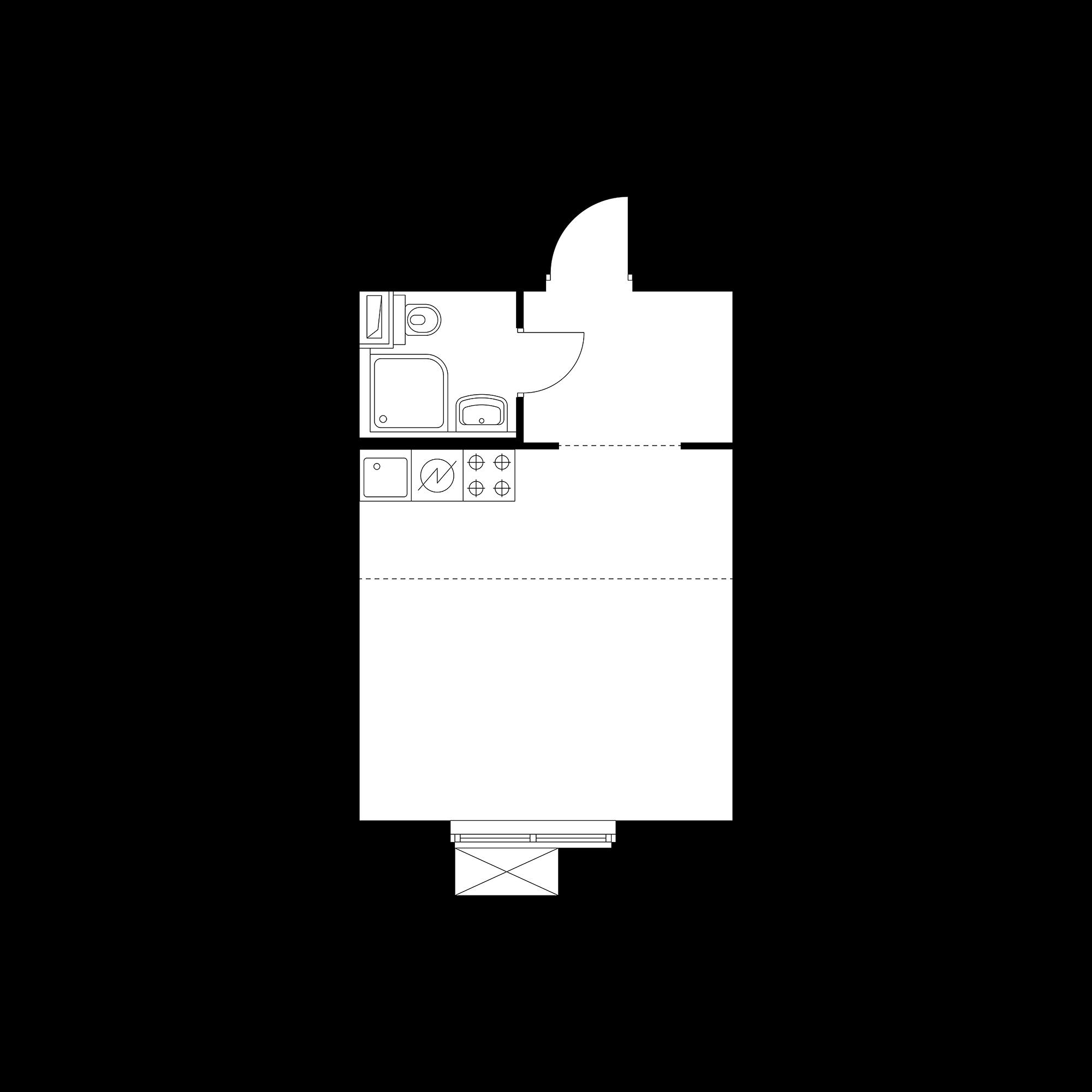 Студия 25.42  м²