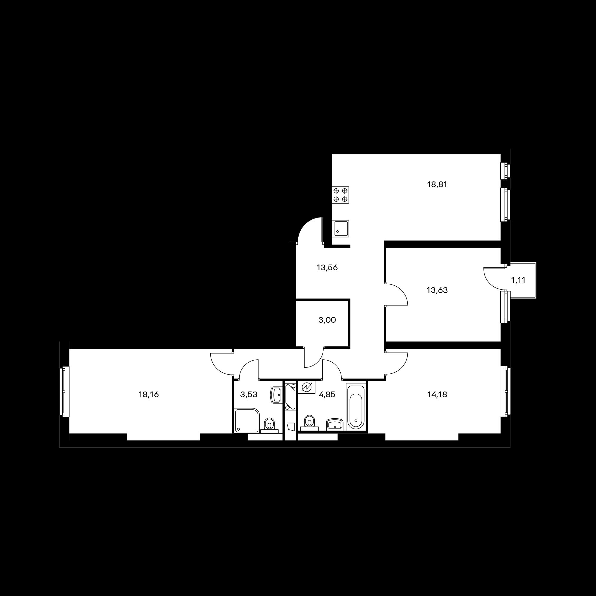 3-комнатная 90.05 м²