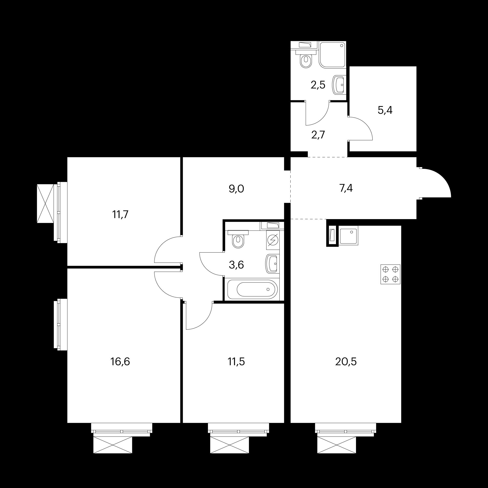 3-комнатная 90.9  м²