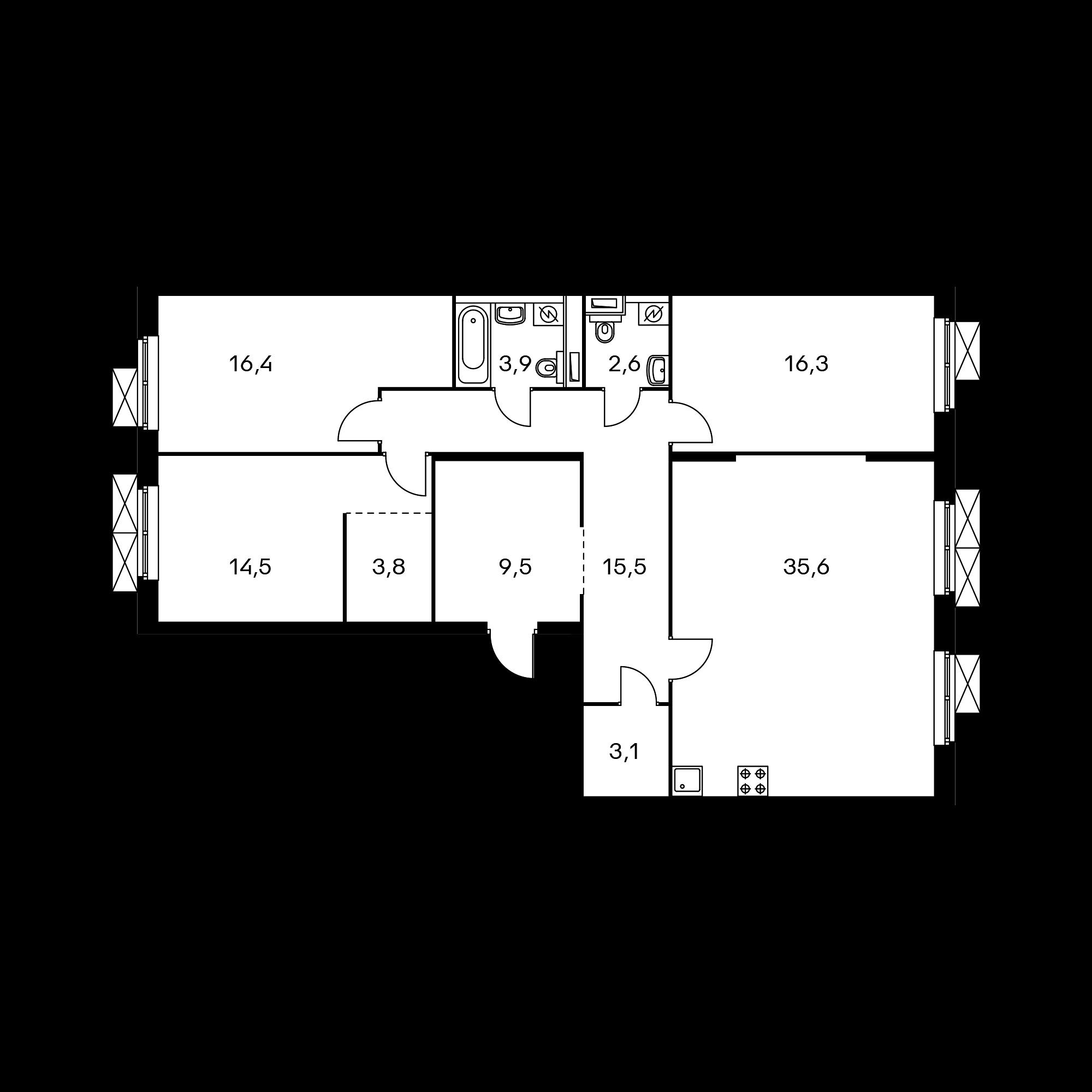 3-комнатная 121.2  м²