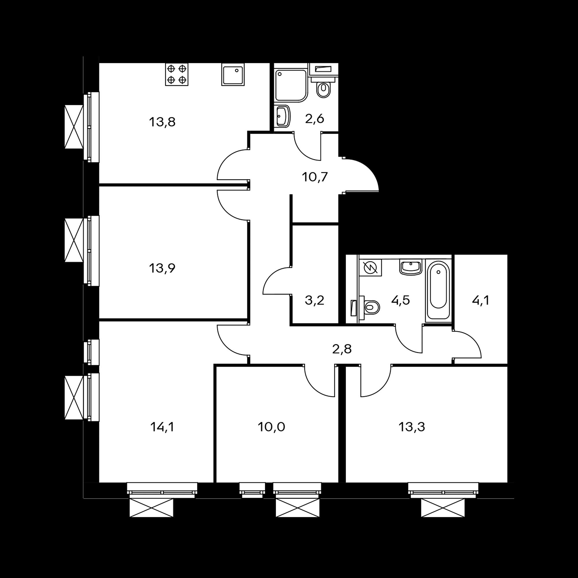 4-комнатная 93 м²