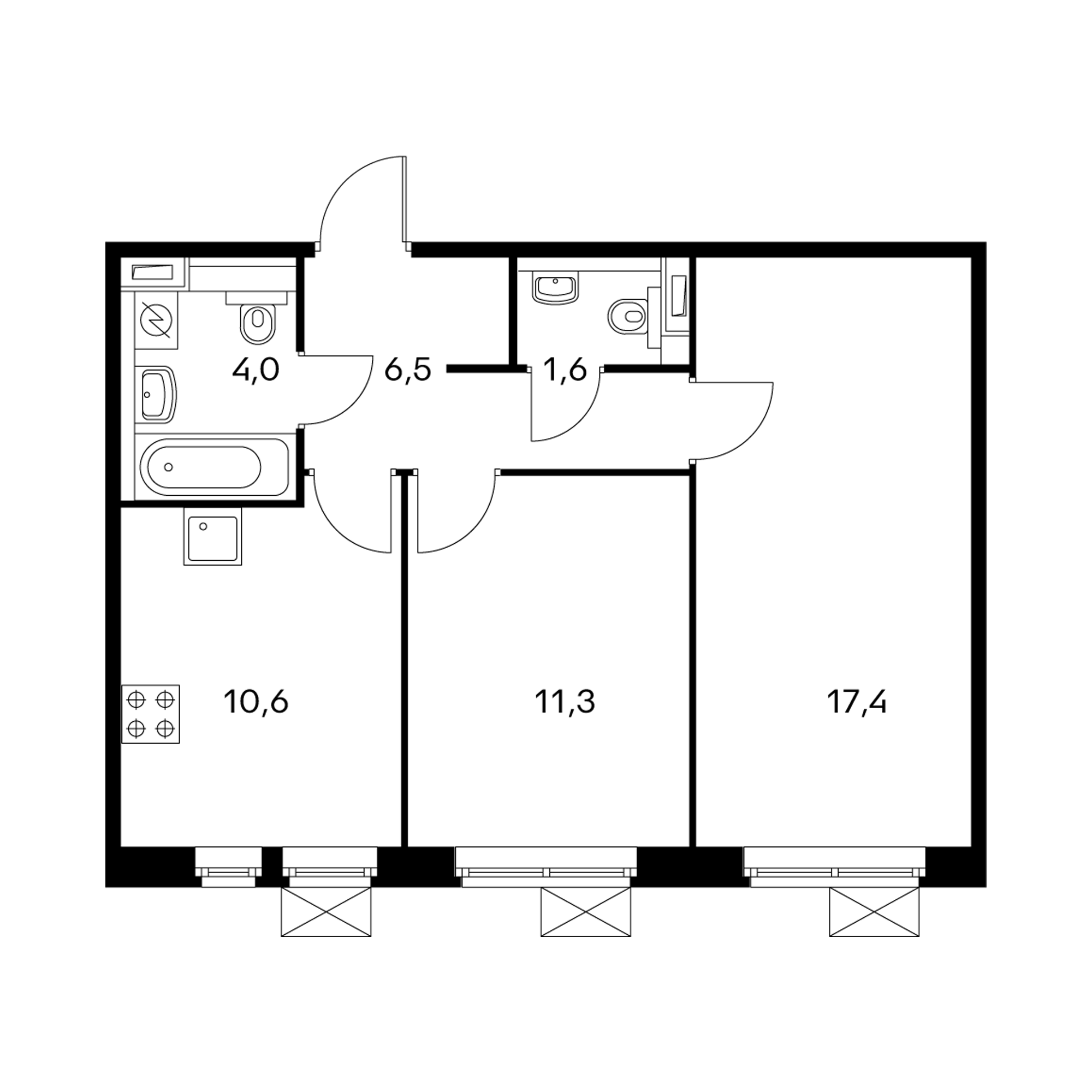 2-комнатная 51.5 м²