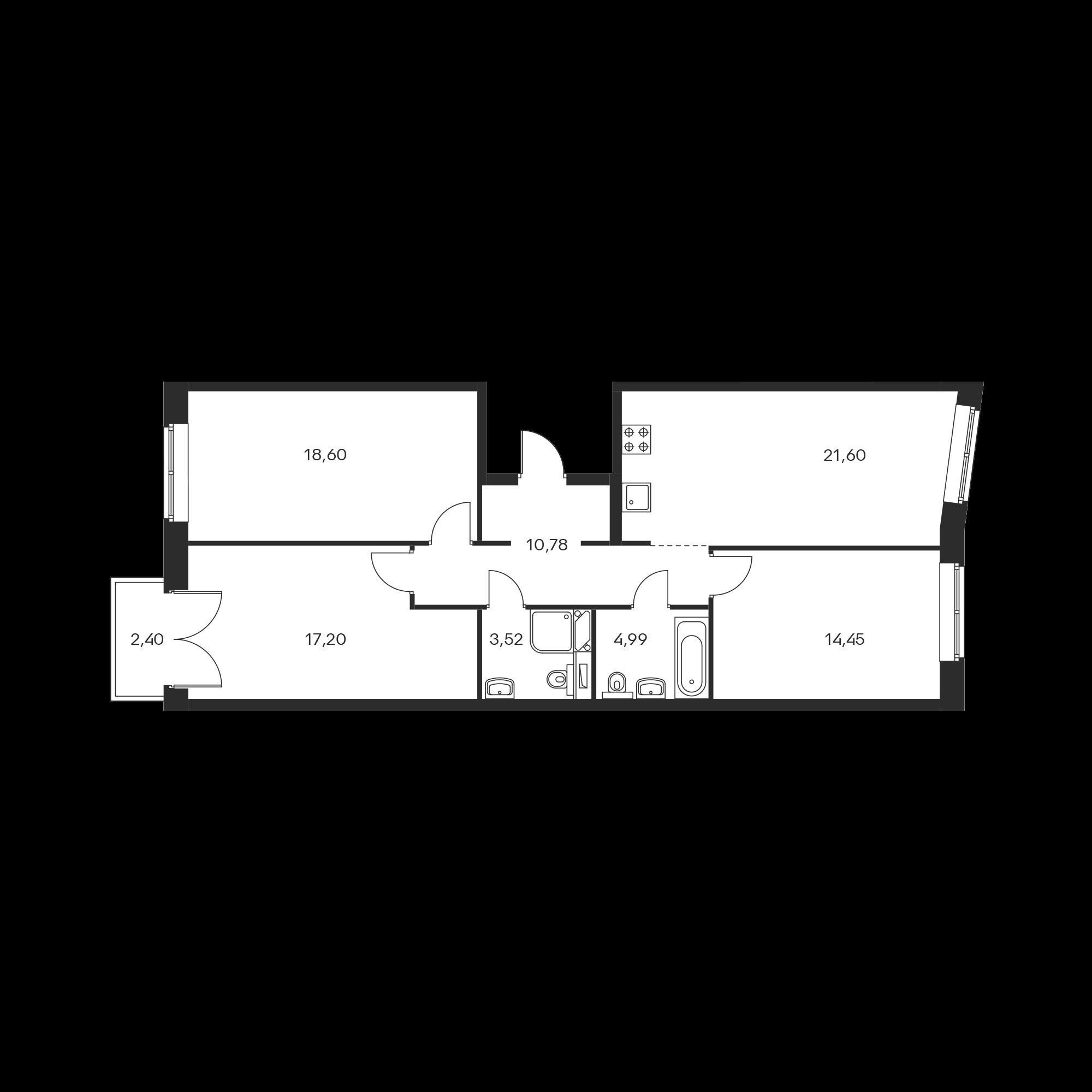 3-комнатная 91.86 м²