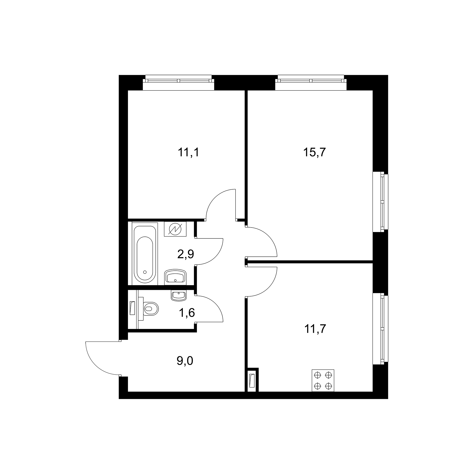 2-комнатная 52 м²