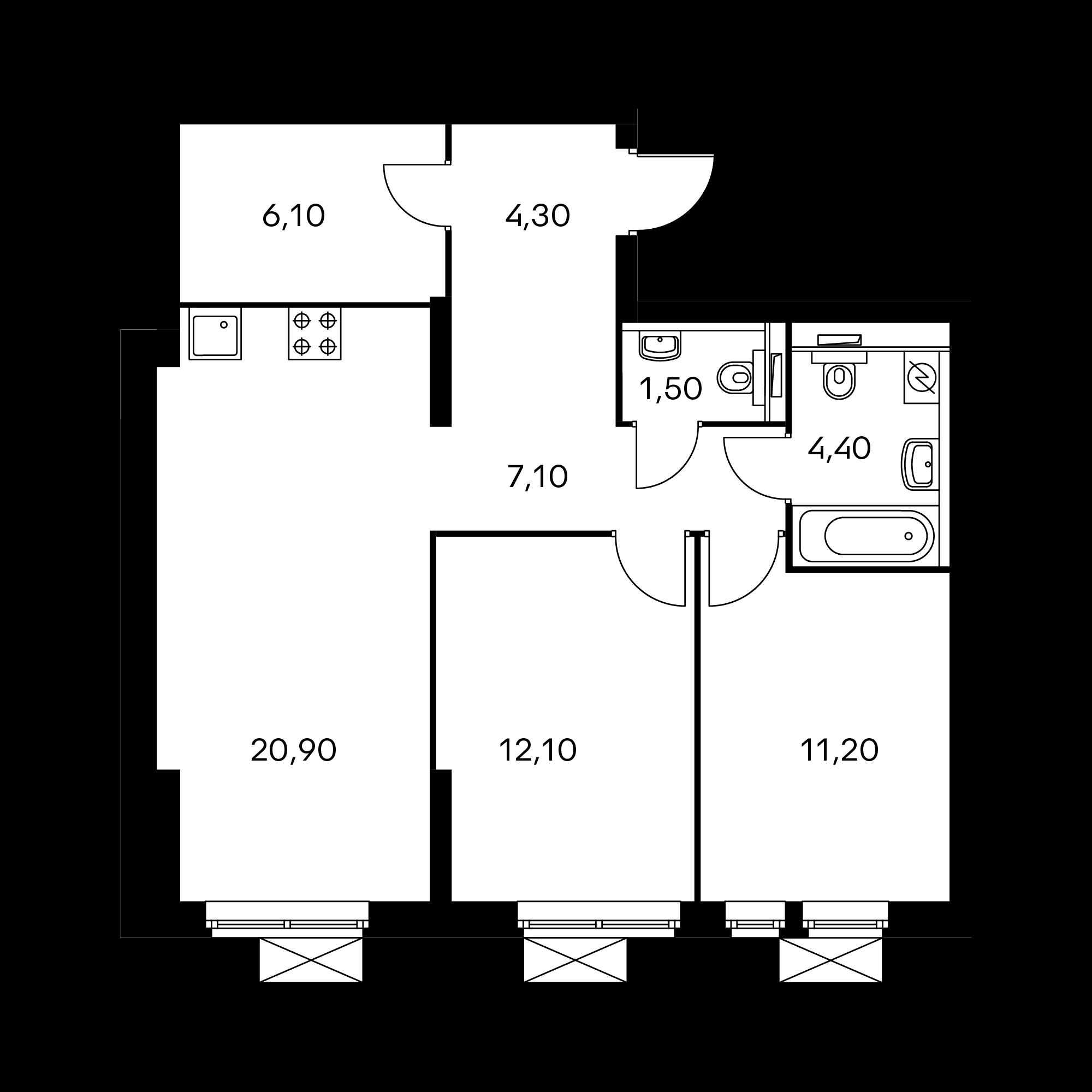 2-комнатная 67.6  м²