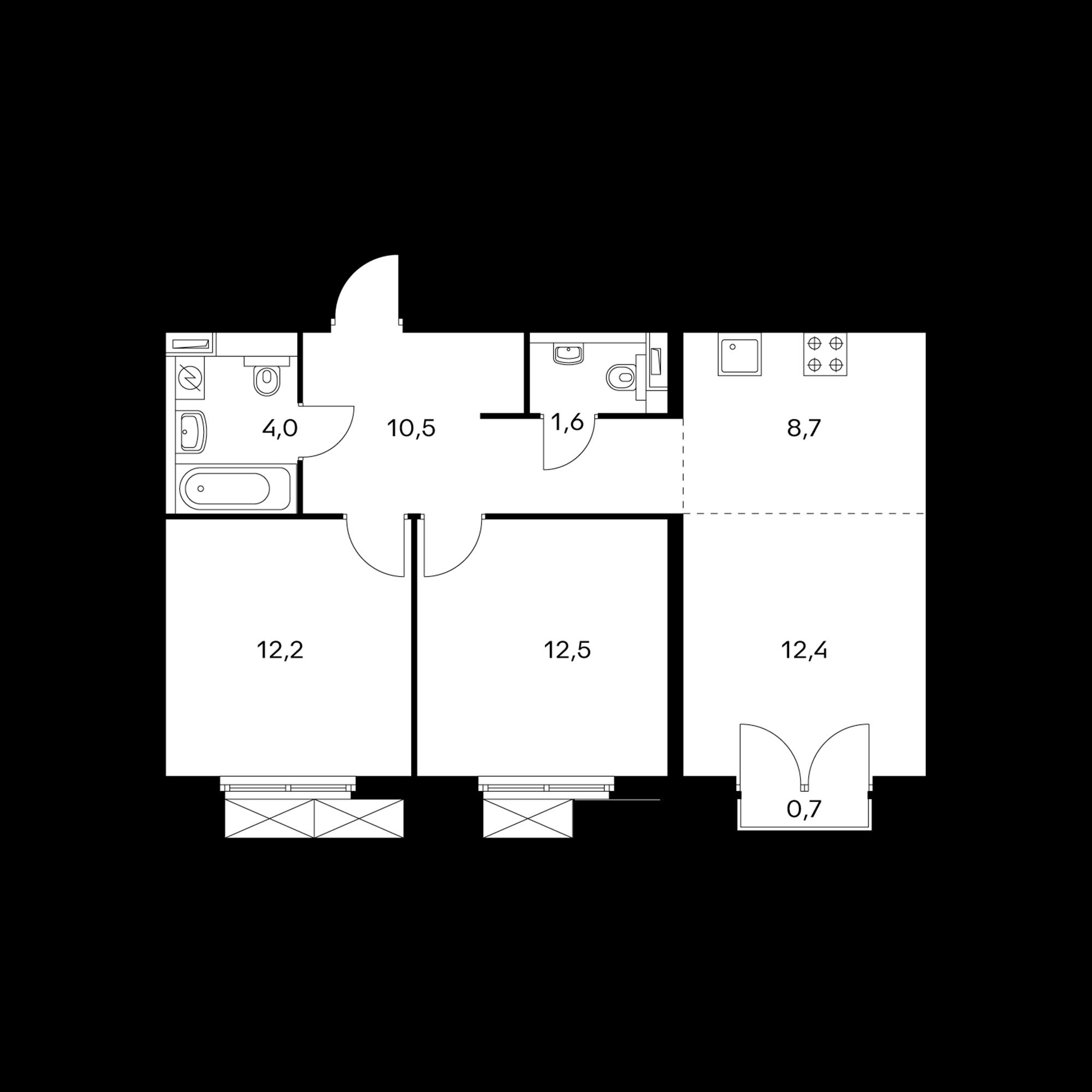 3-комнатная 62.1  м²