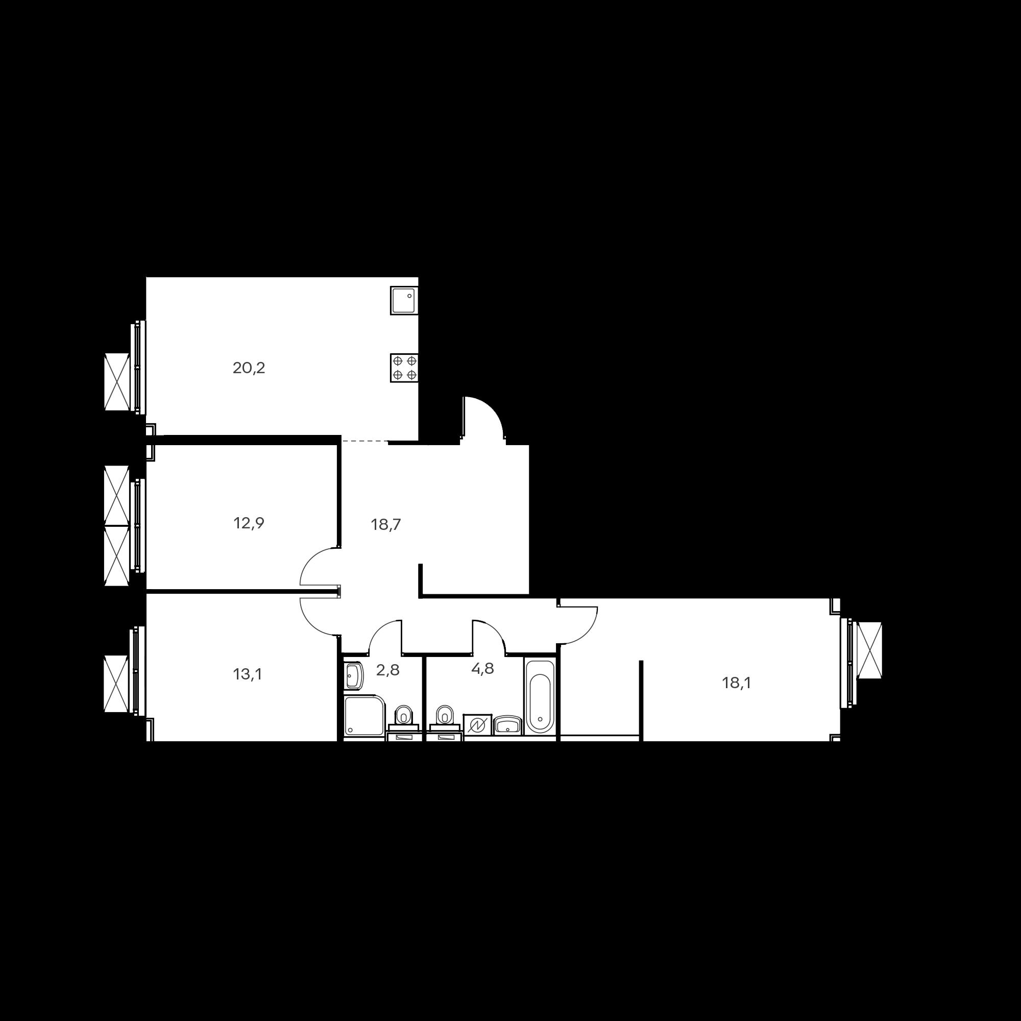 3-комнатная 90.7  м²
