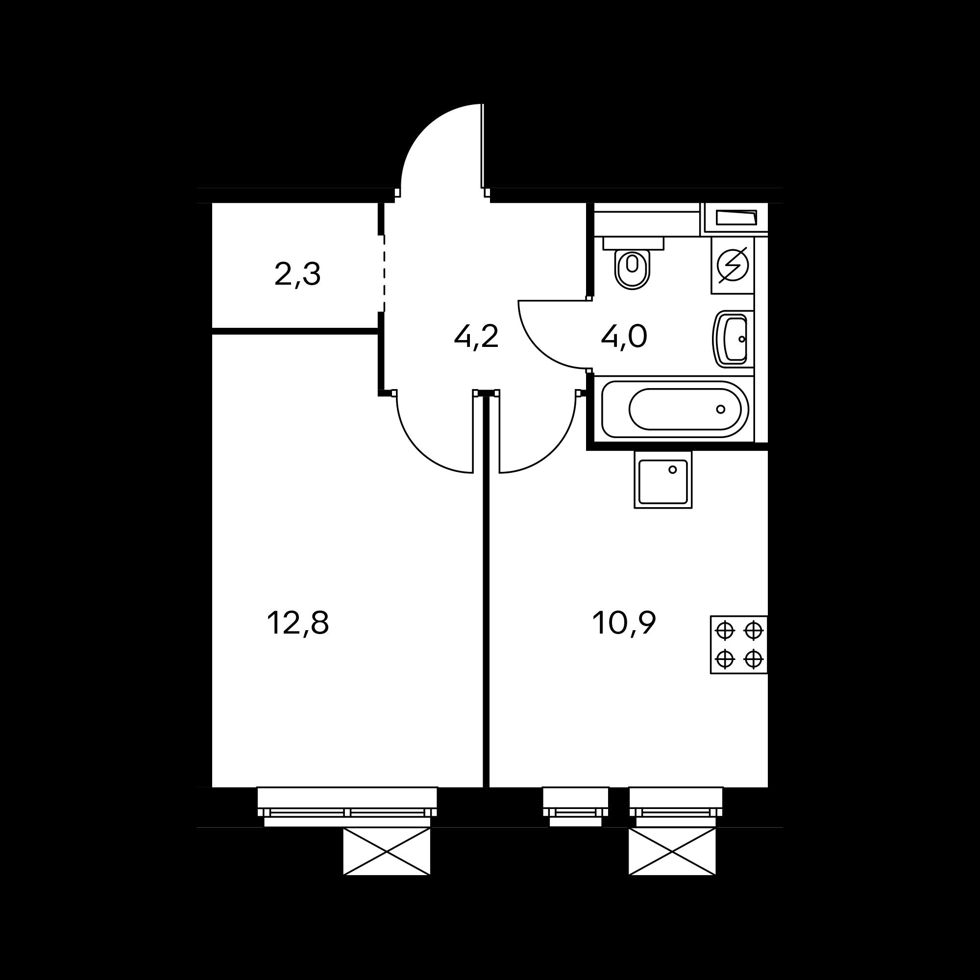 1-комнатная 34.2  м²
