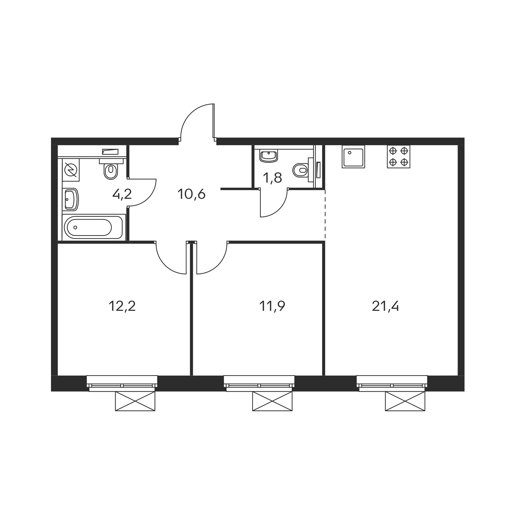 2-комнатная 62.1 м²