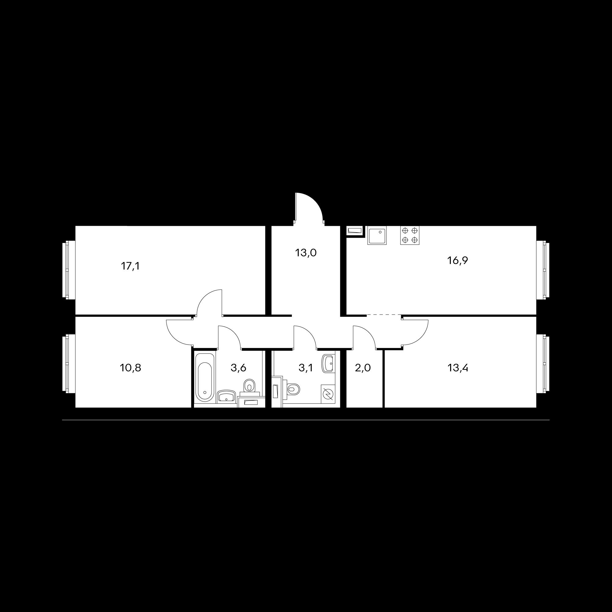 3-комнатная 79 м²