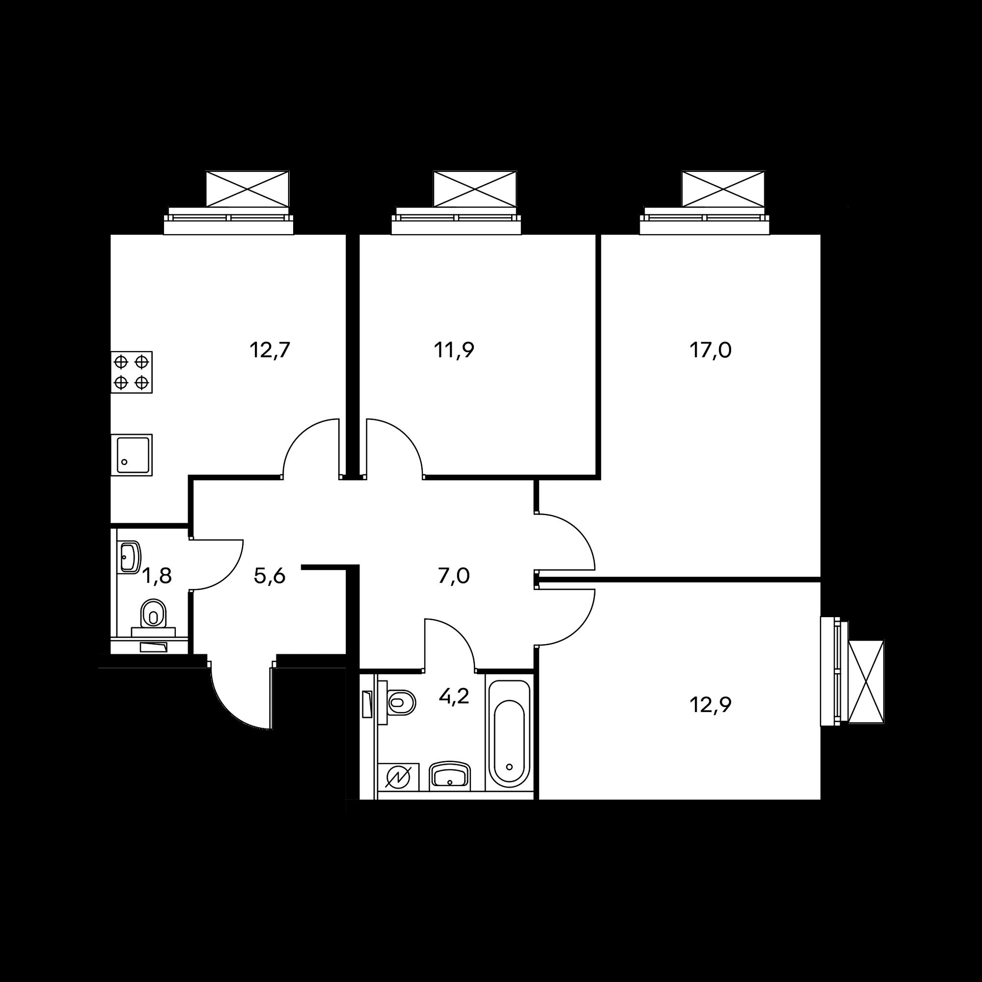 3-комнатная 73.1  м²