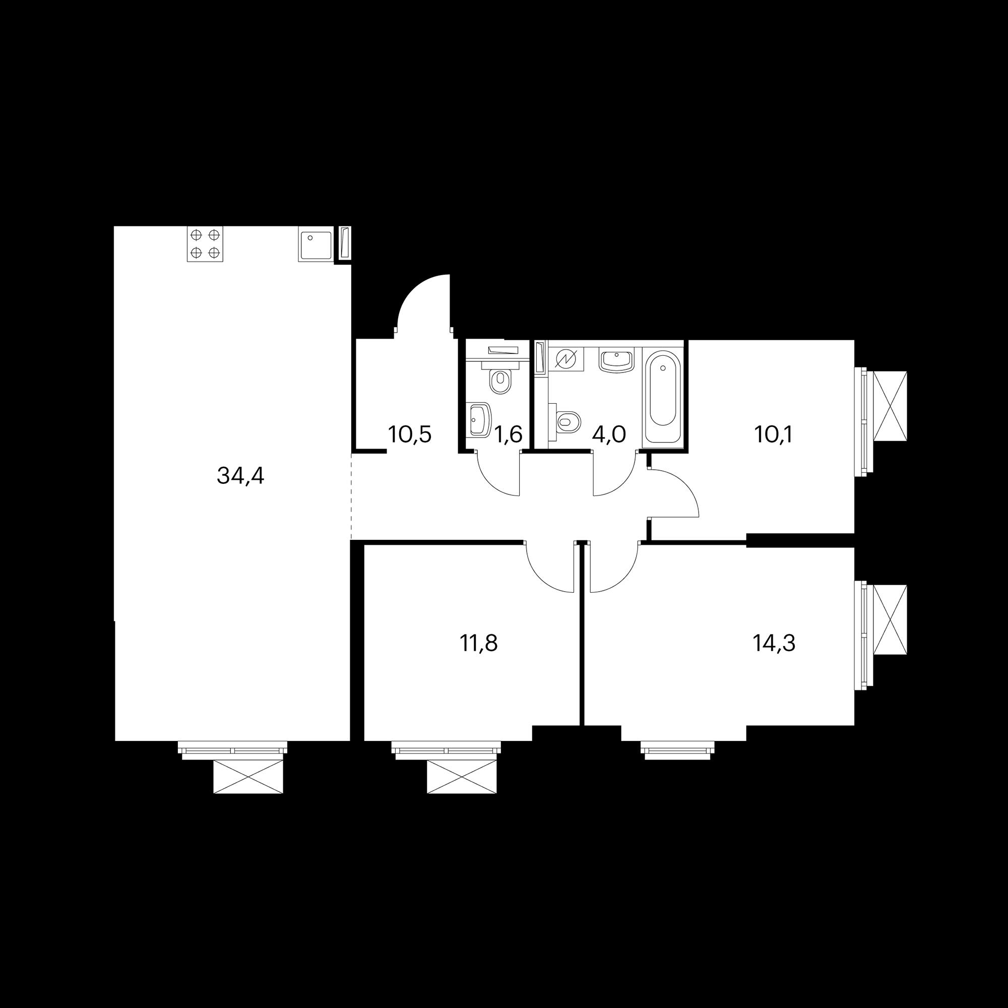 3-комнатная 86.7 м²