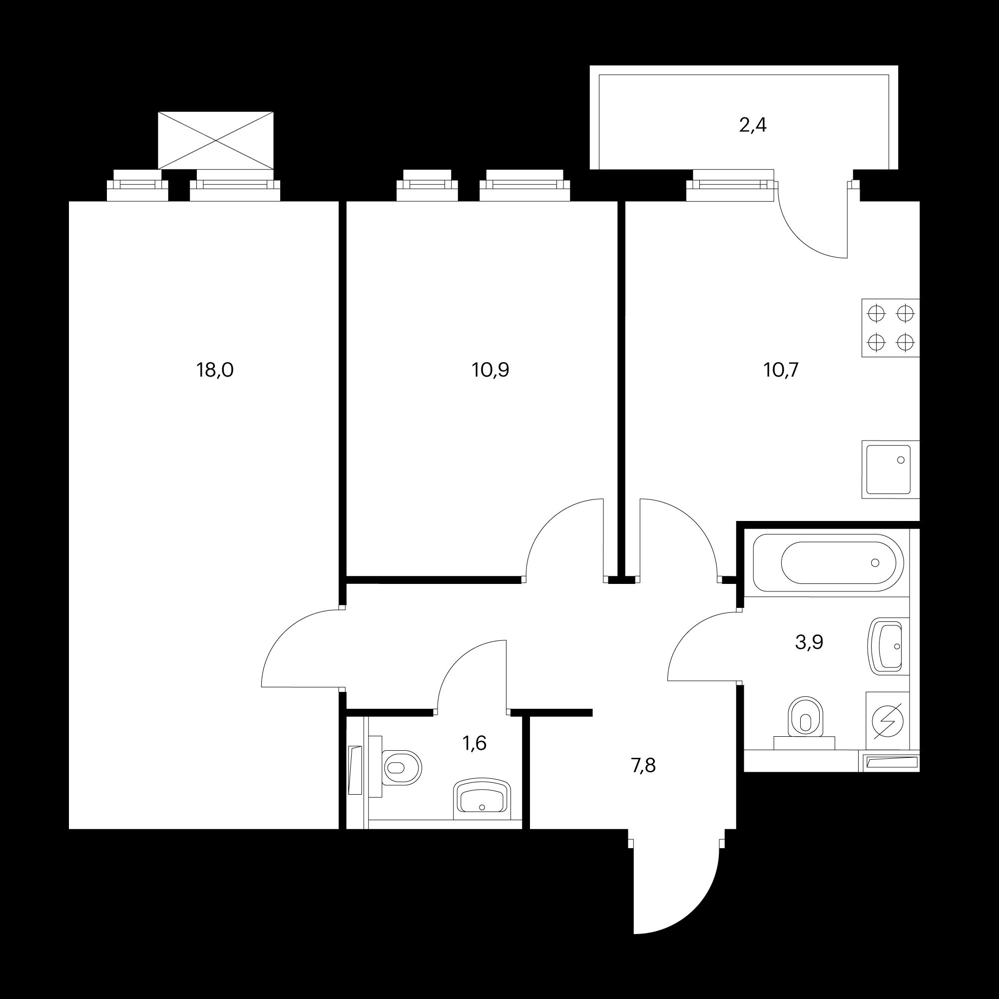 2-комнатная 53.7 м²