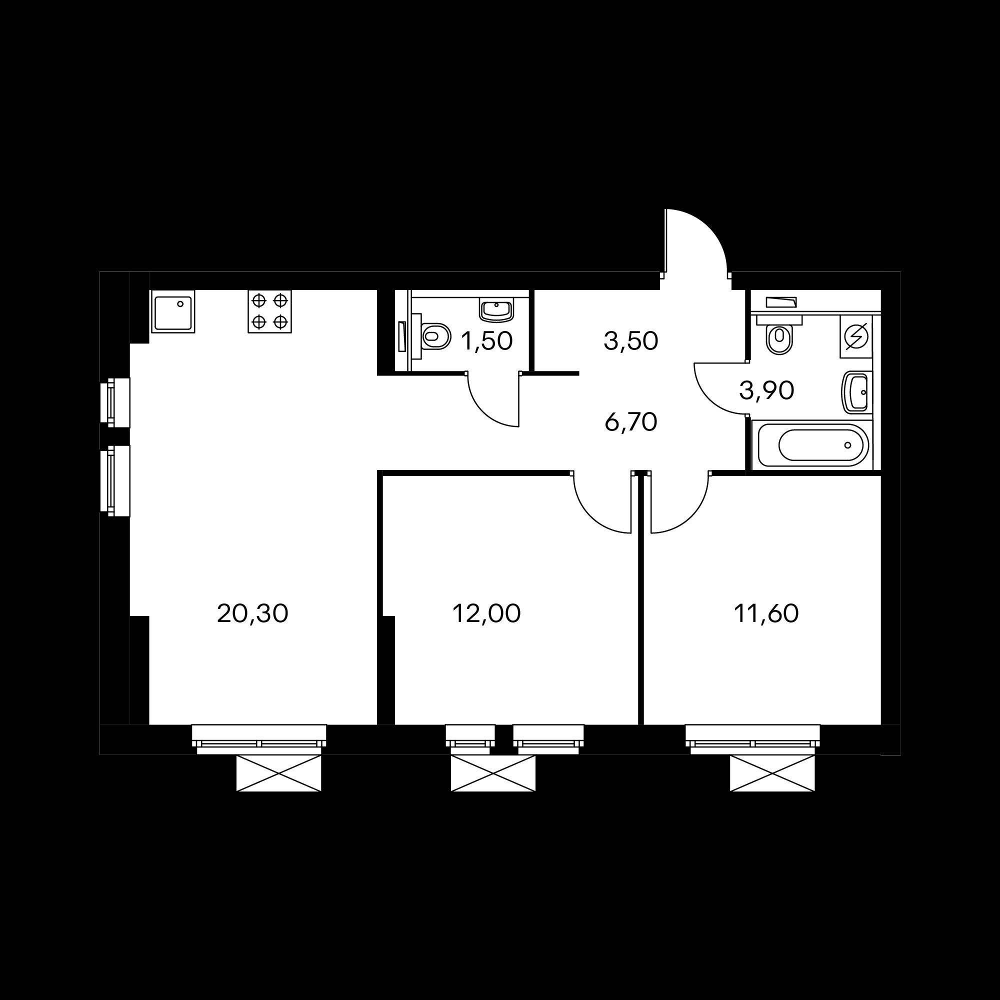 2-комнатная 59.6  м²