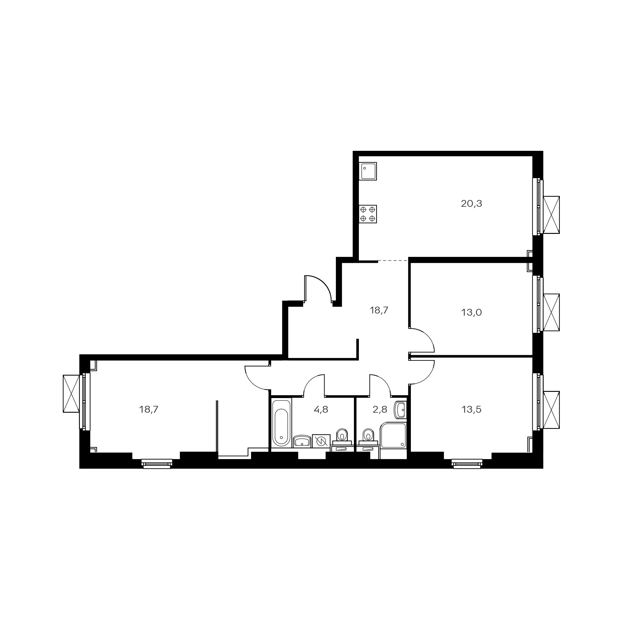3-комнатная 93.3 м²