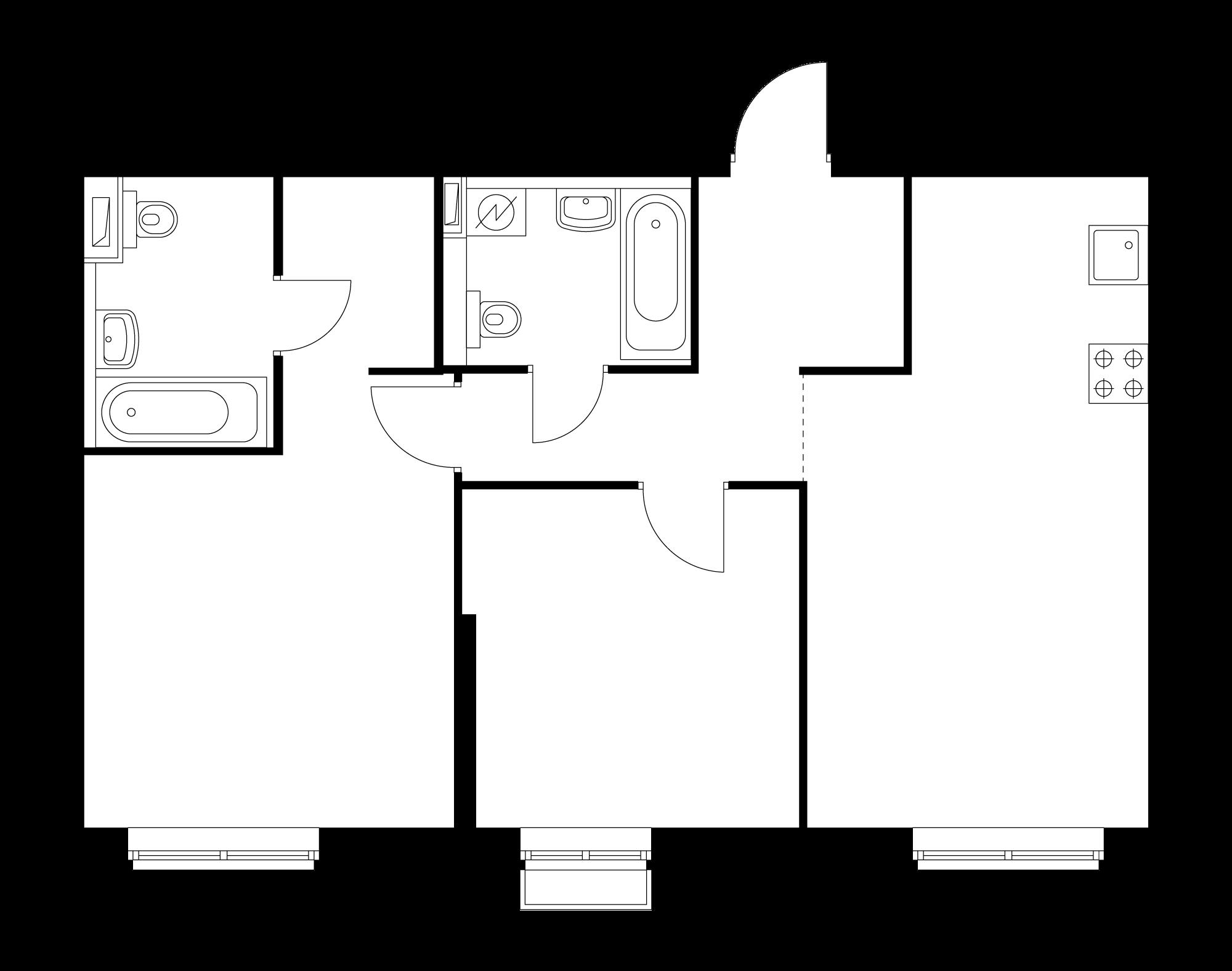 2-комнатная 64.6  м²