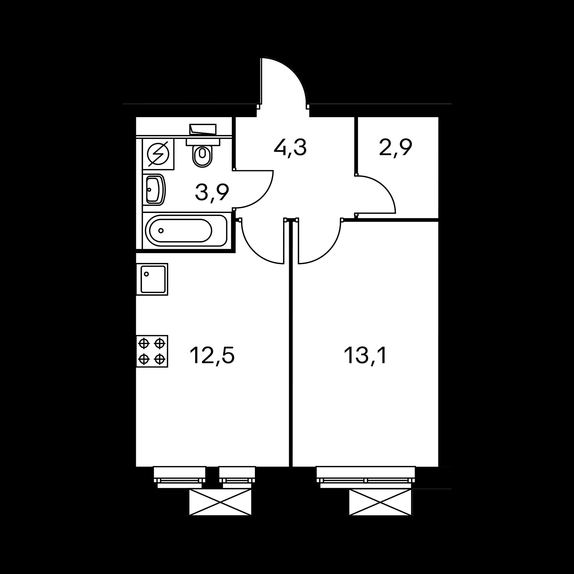 1-комнатная 37.2  м²