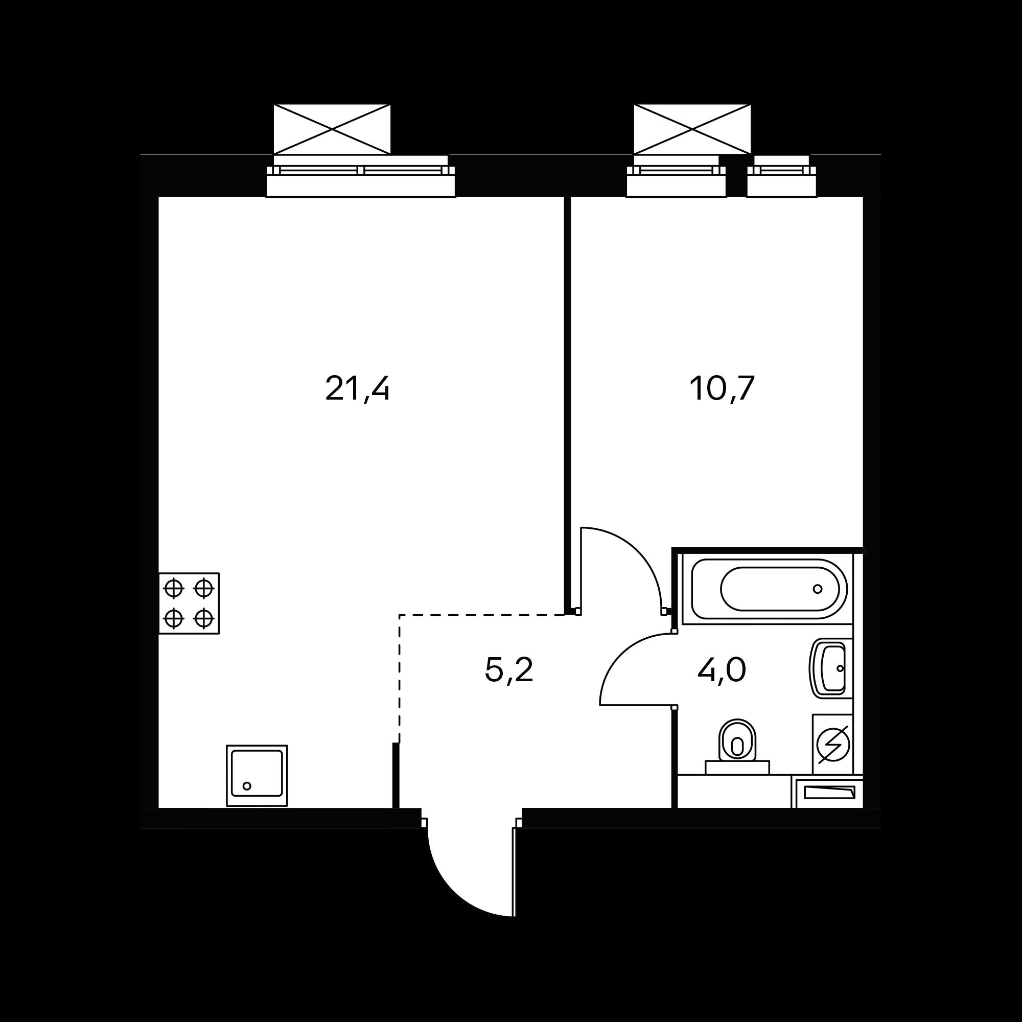 1-комнатная 41.3 м²