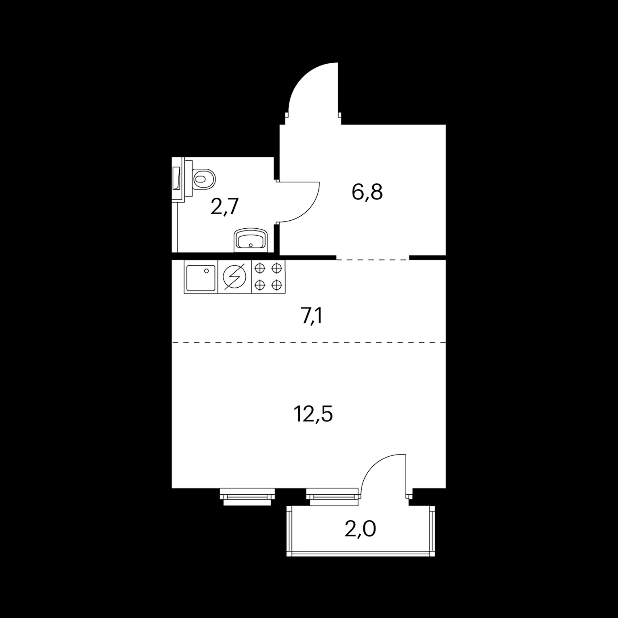 Студия 29.7  м²