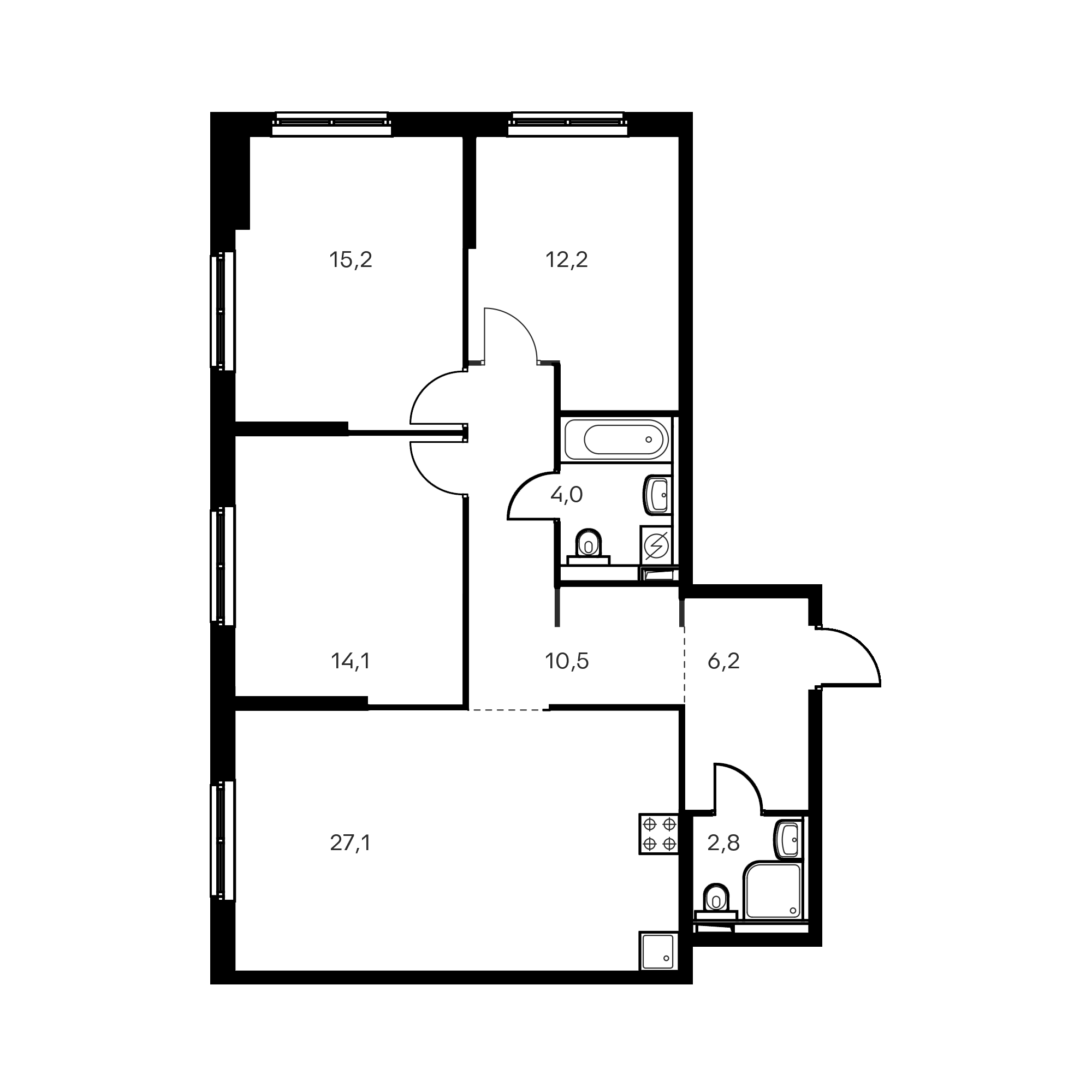 3-комнатная 92.1 м²