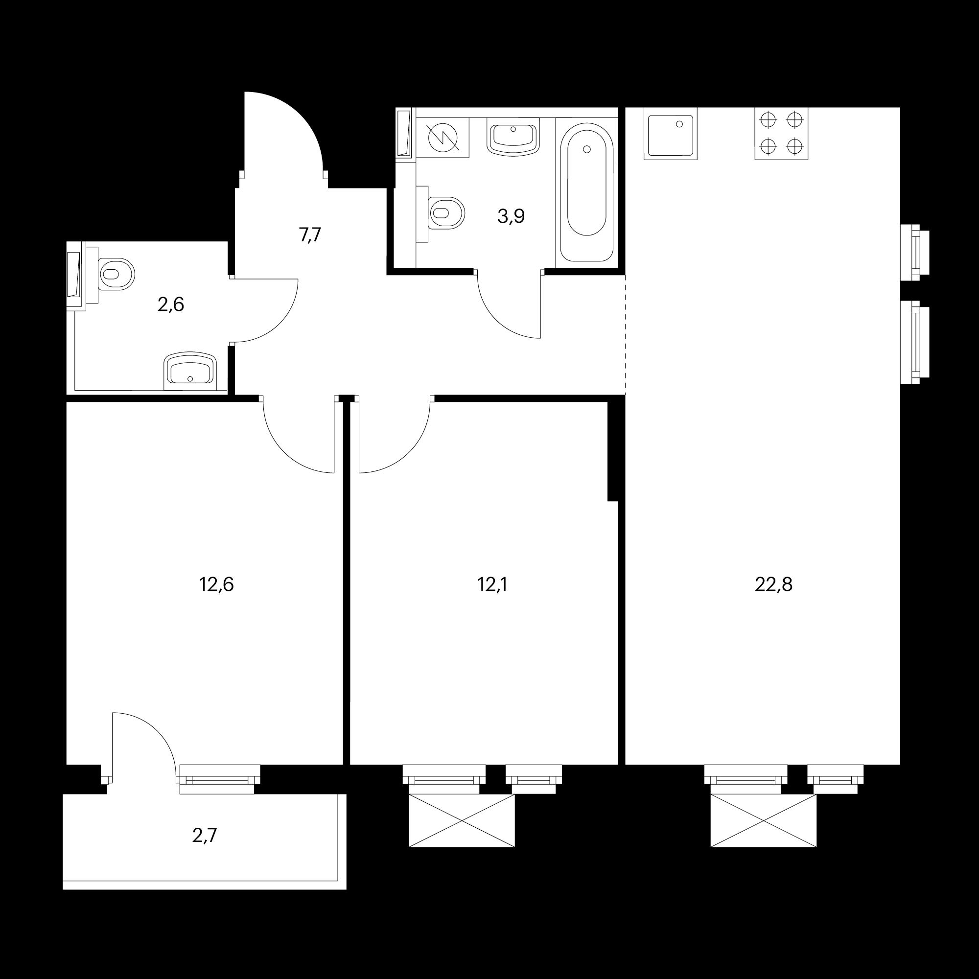 2-комнатная 62.6  м²