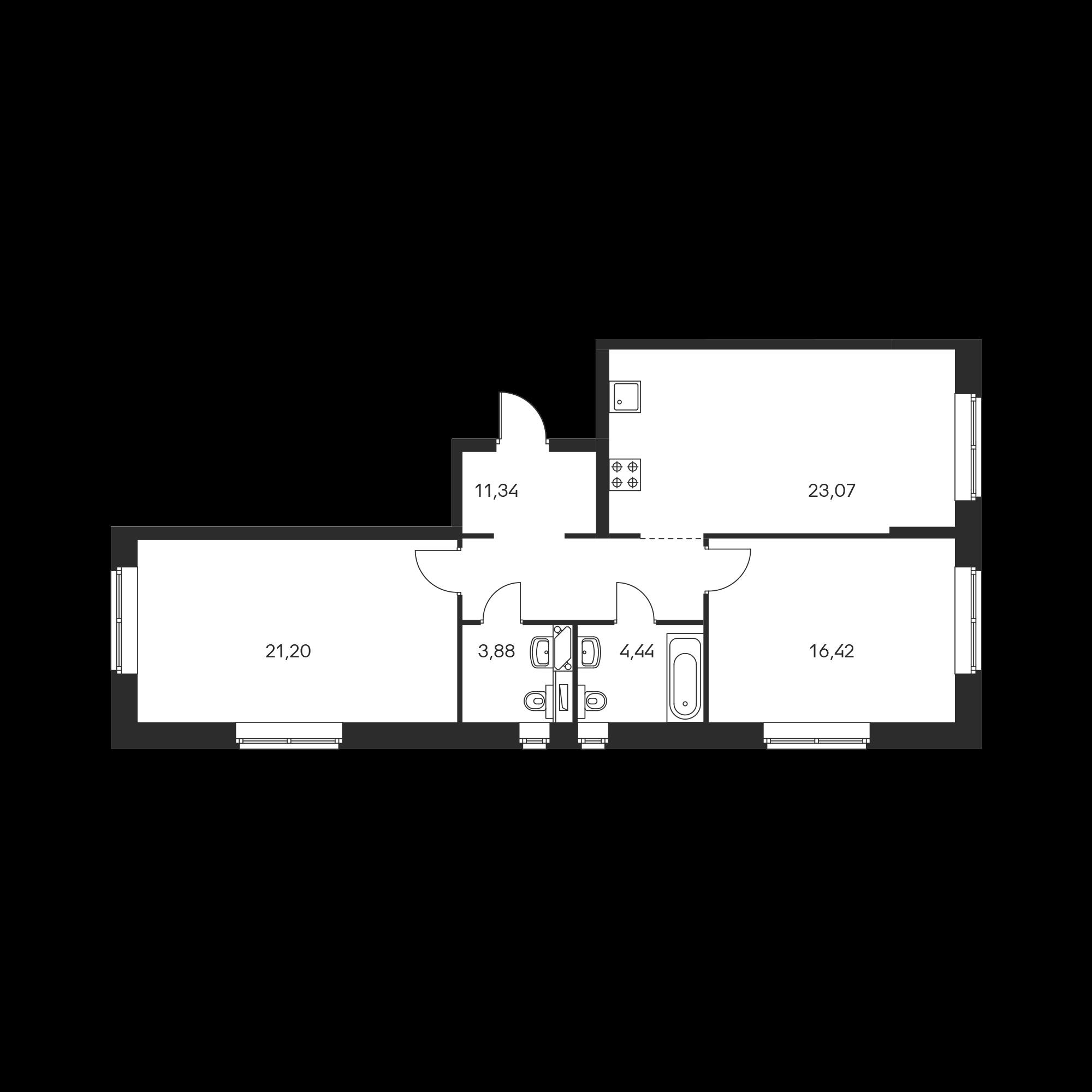 2-комнатная 80.35  м²