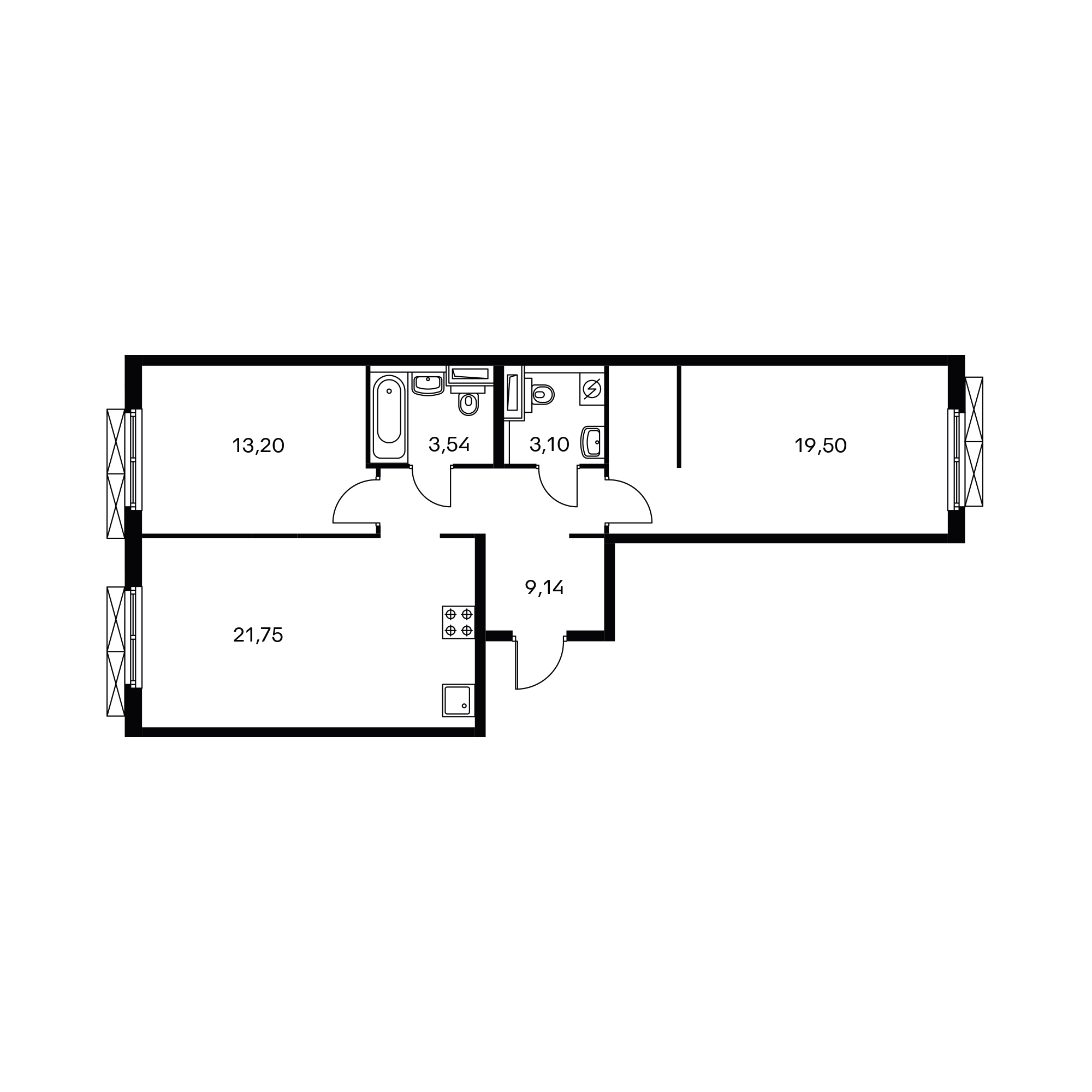 2-комнатная 70.23 м²