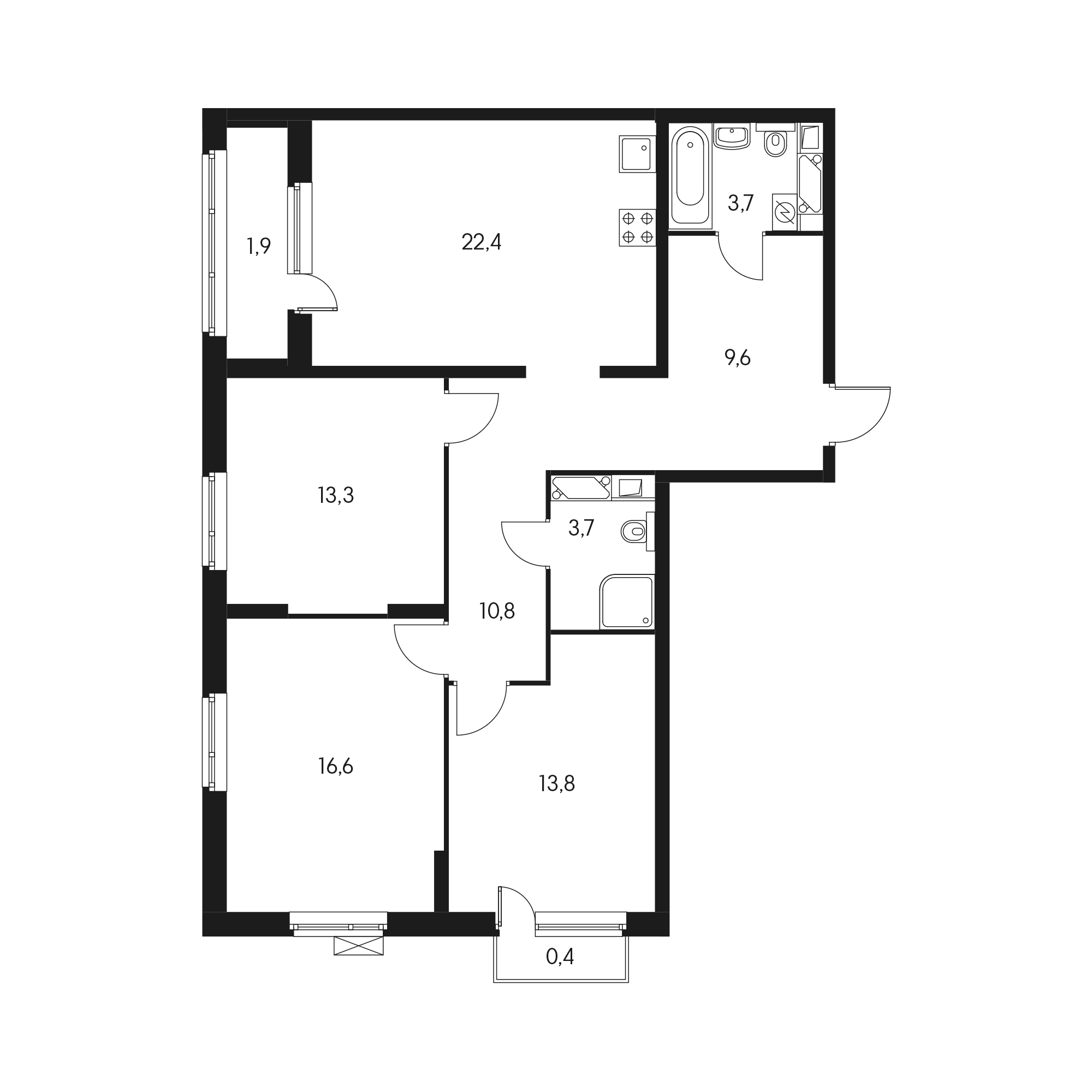 3-комнатная 96.9 м²