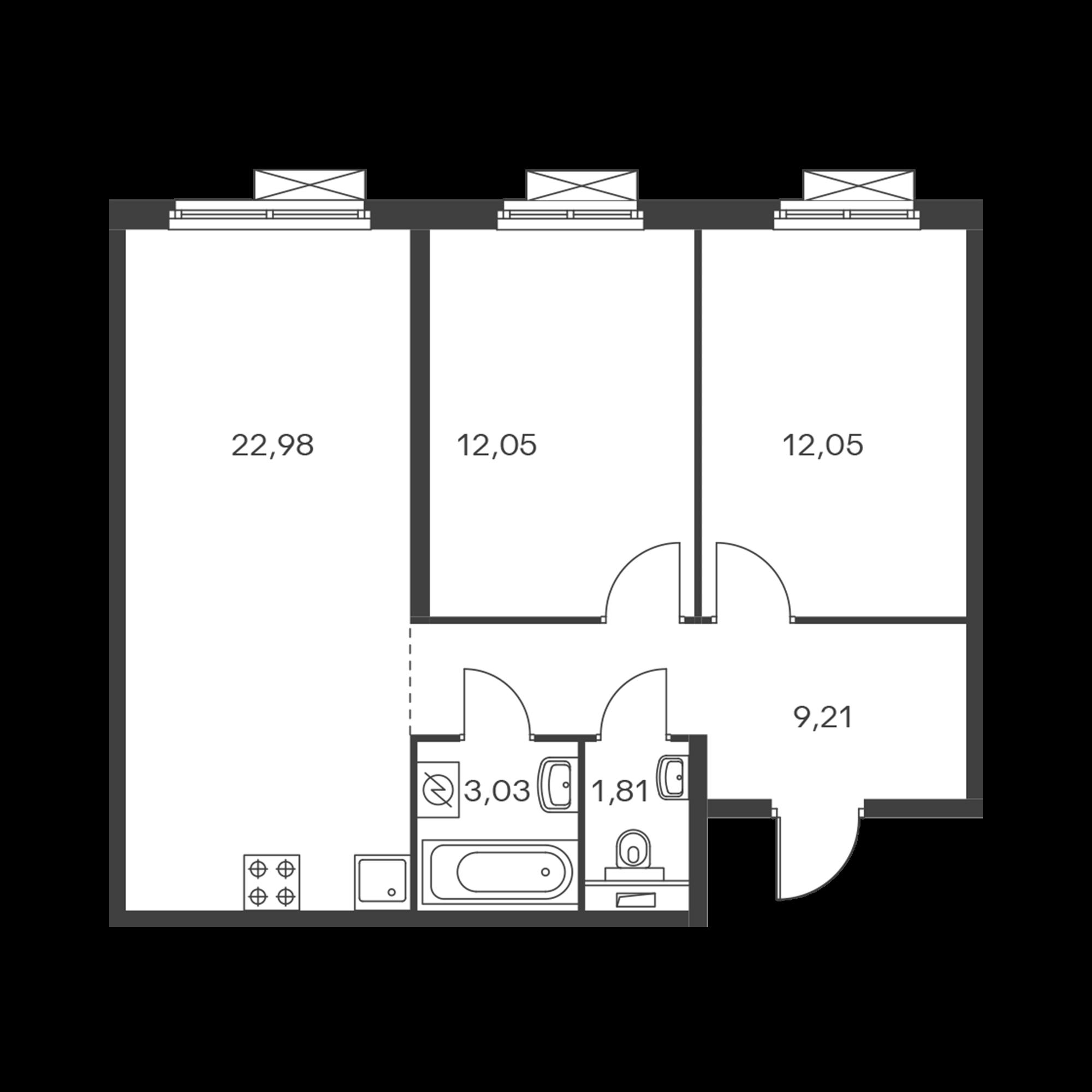 2-комнатная 61.13  м²