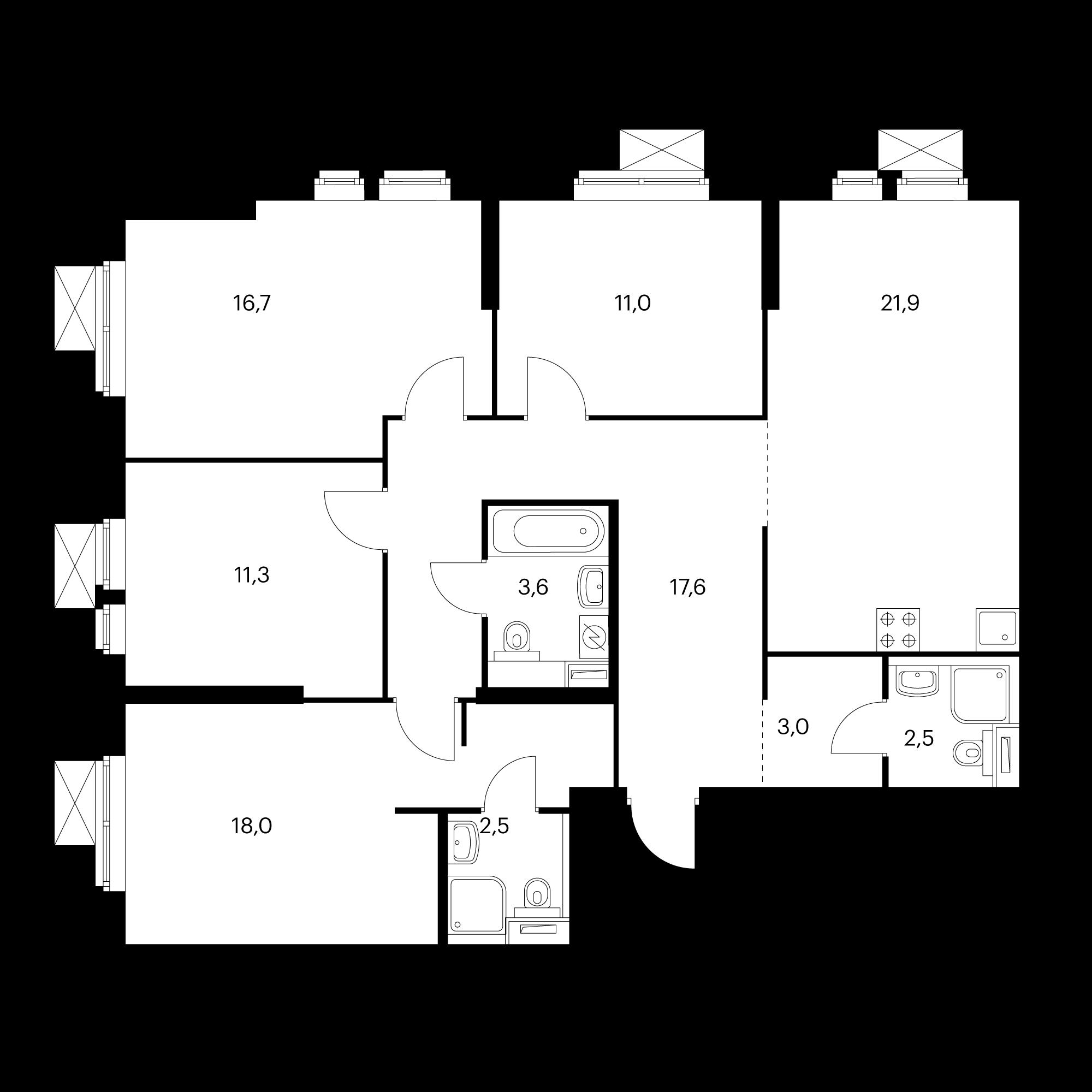 4-комнатная 108.1 м²