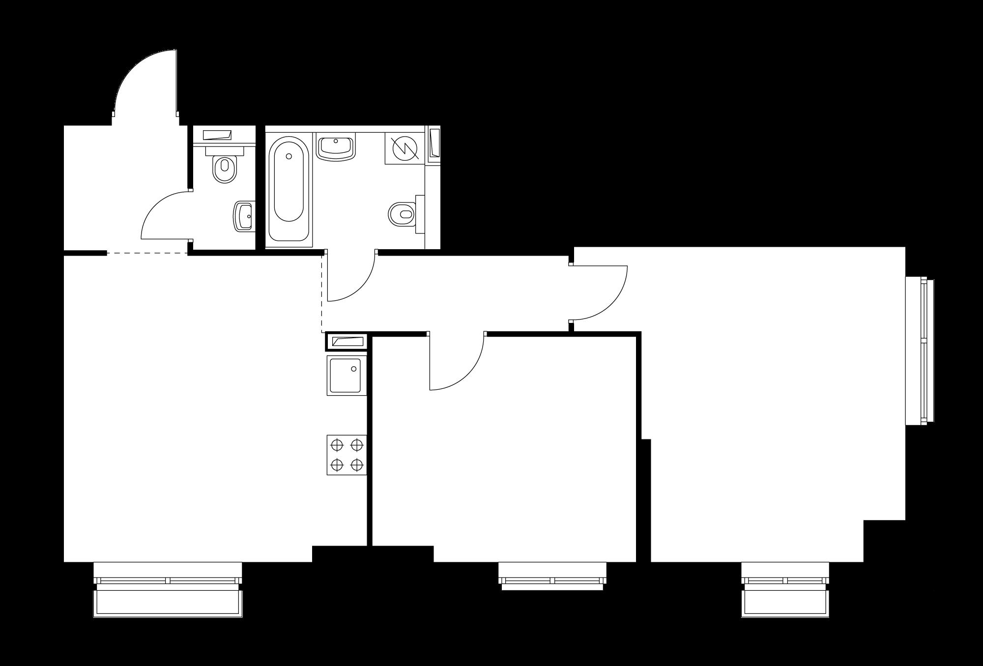 2-комнатная 64.7  м²