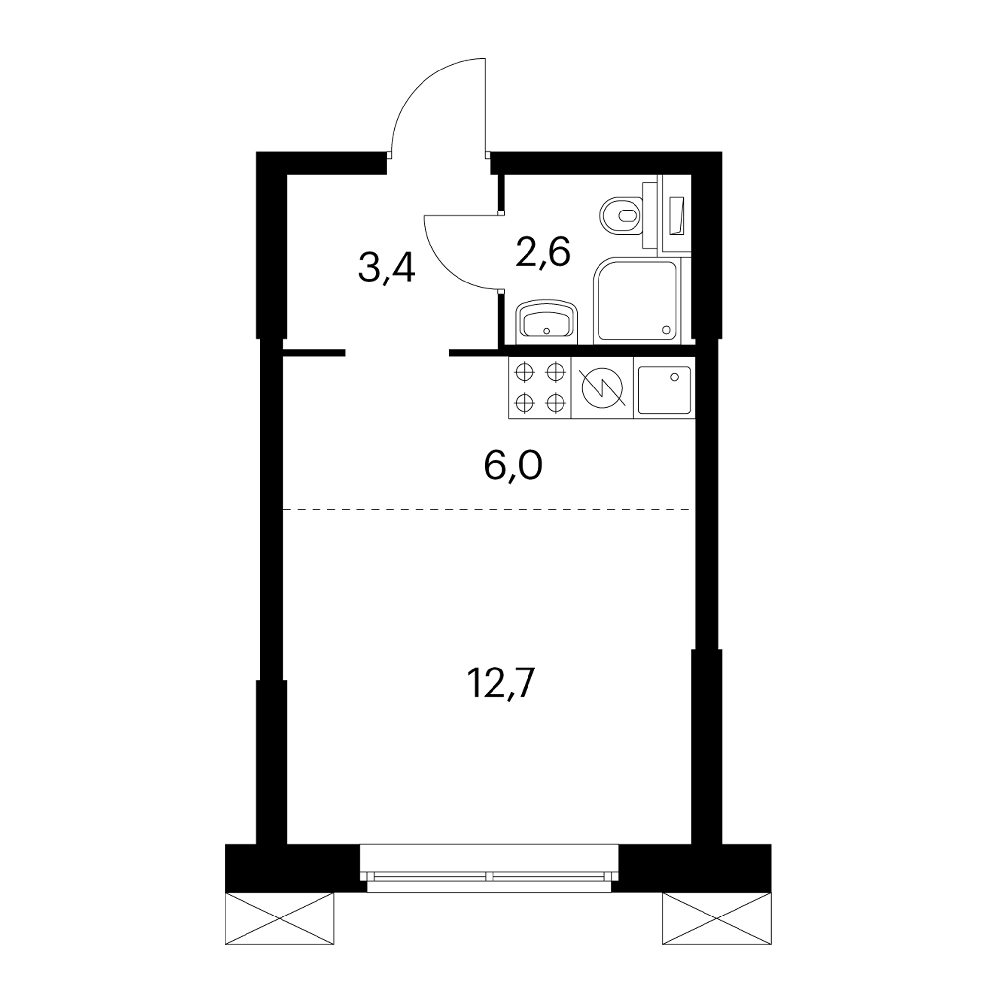 Студия 24.7  м²