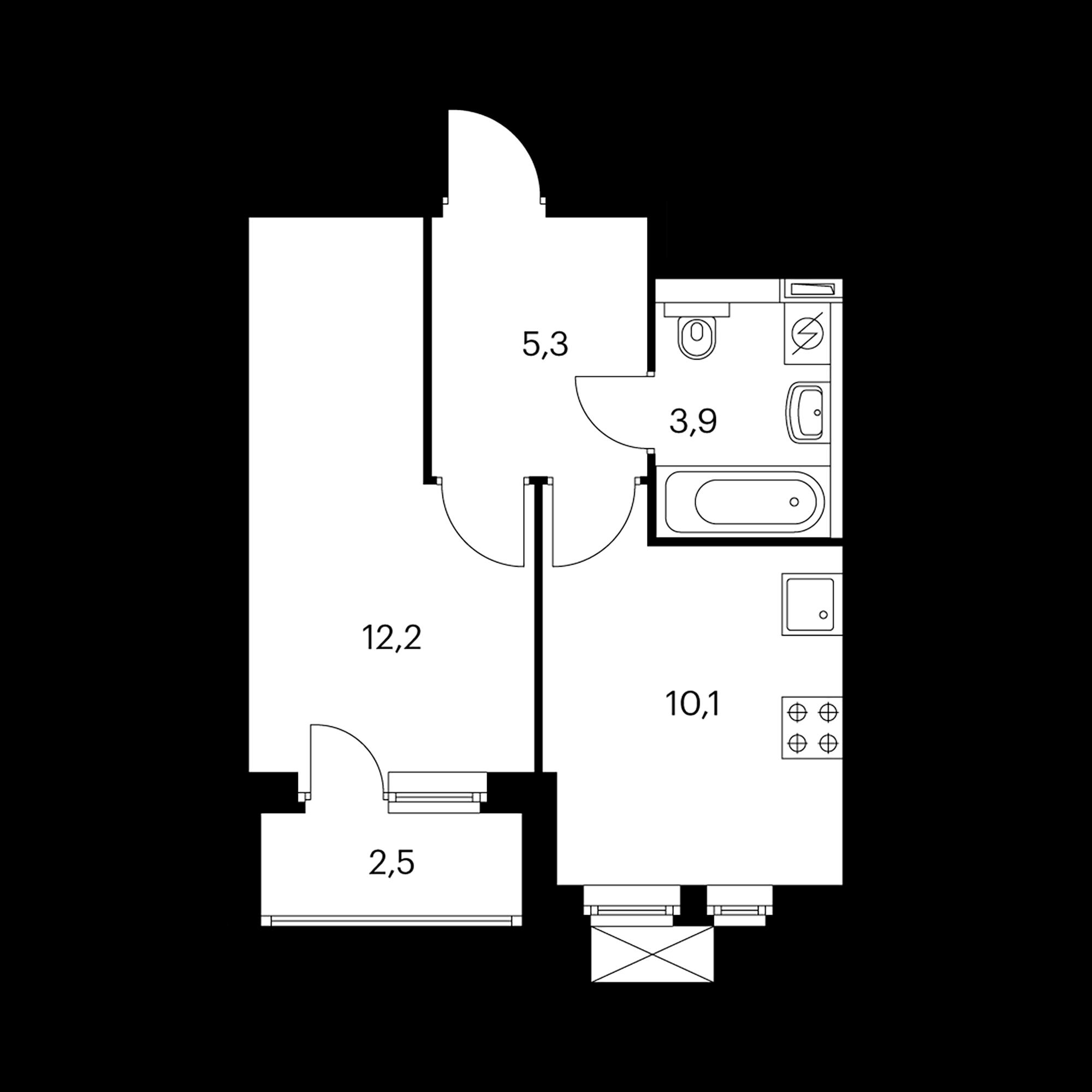 1-комнатная 32.7 м²