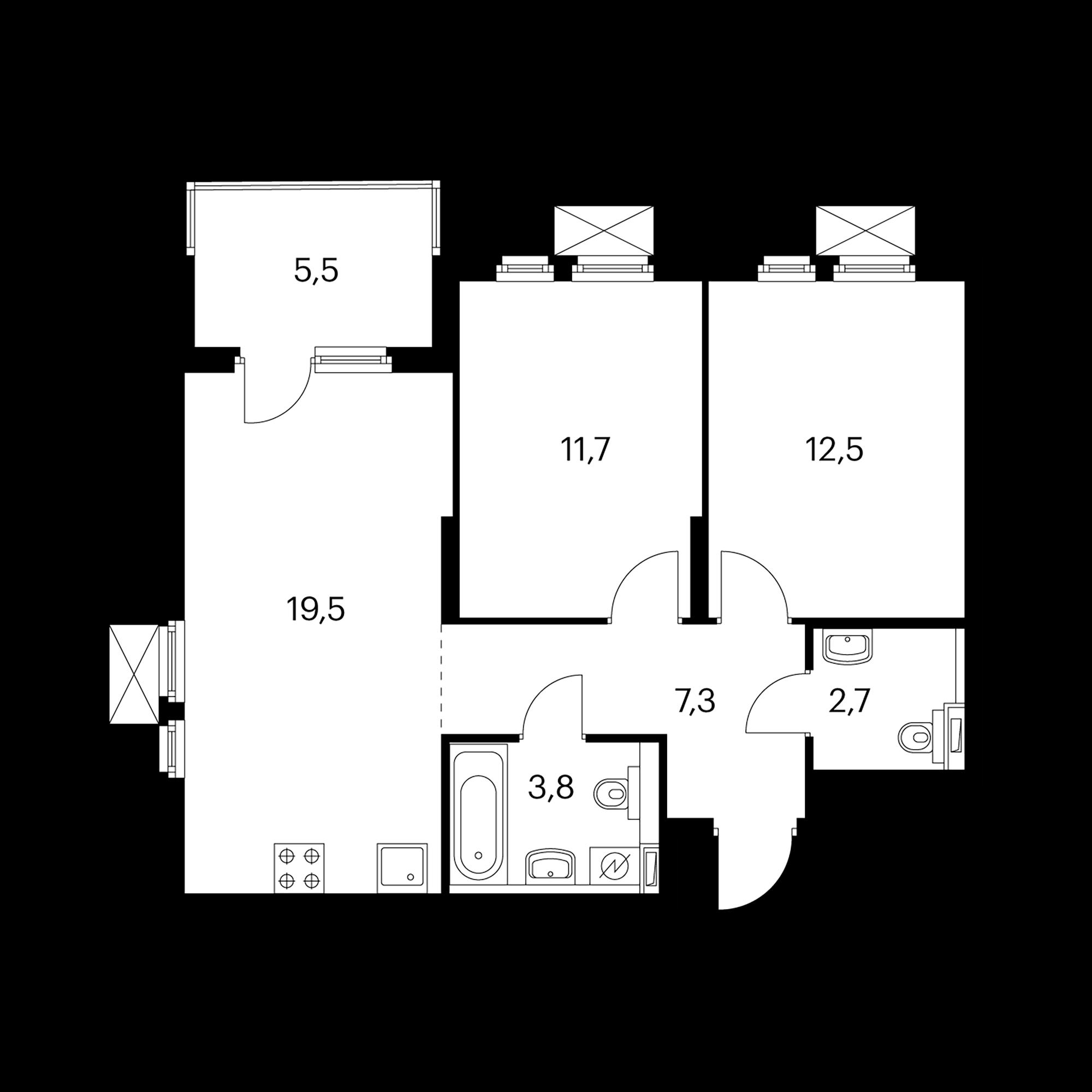 2-комнатная 60.2 м²