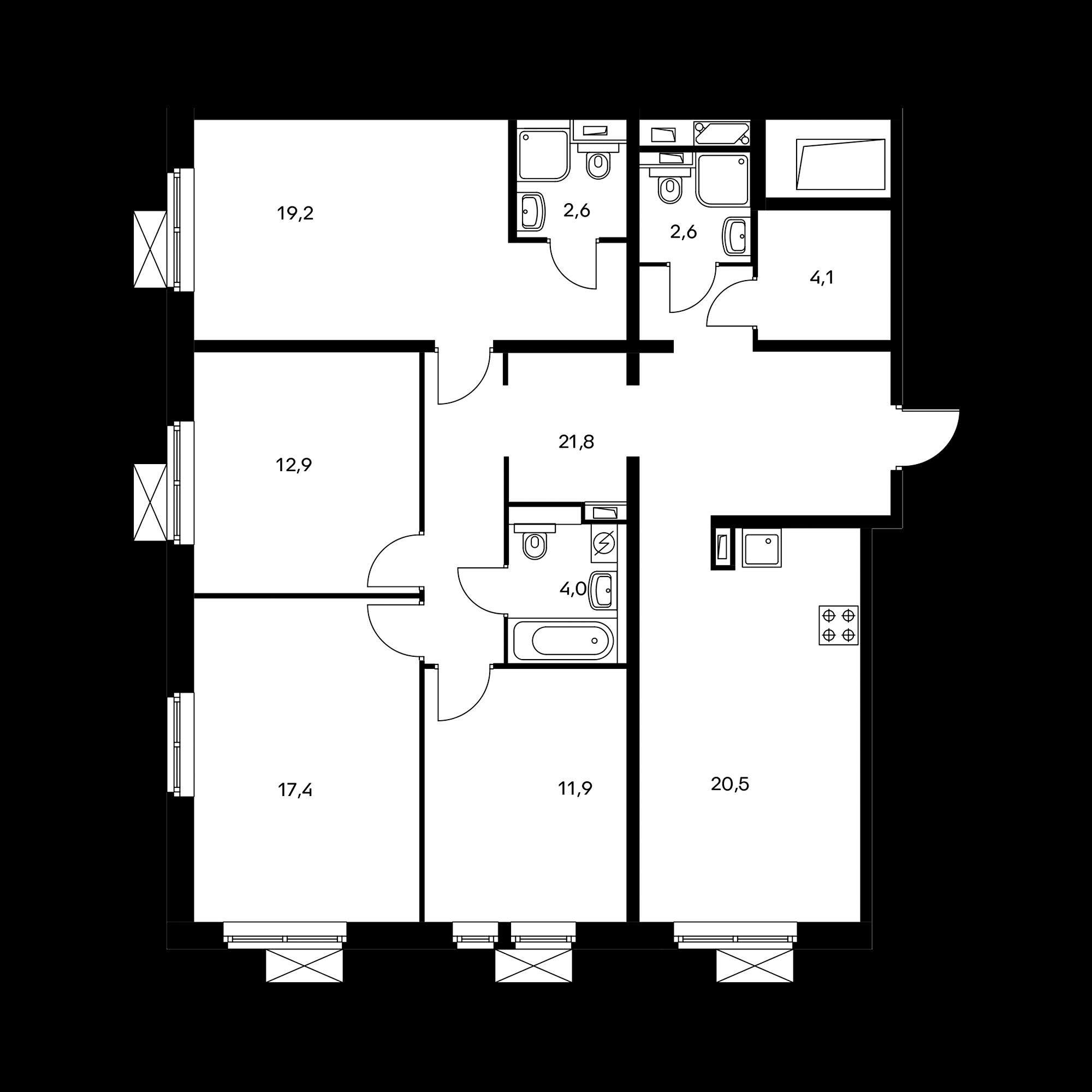 4-комнатная 117 м²