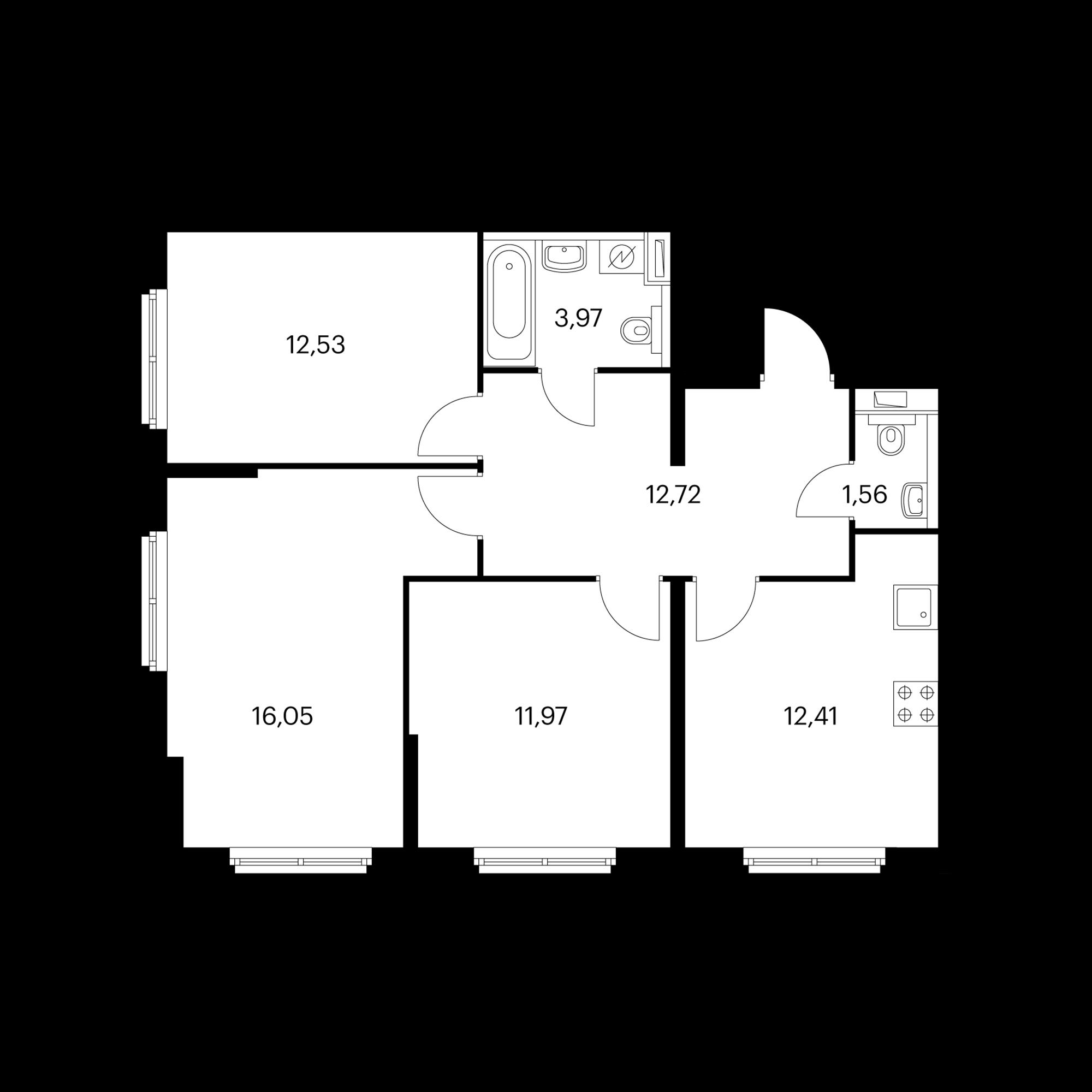 3-комнатная 71.36 м²