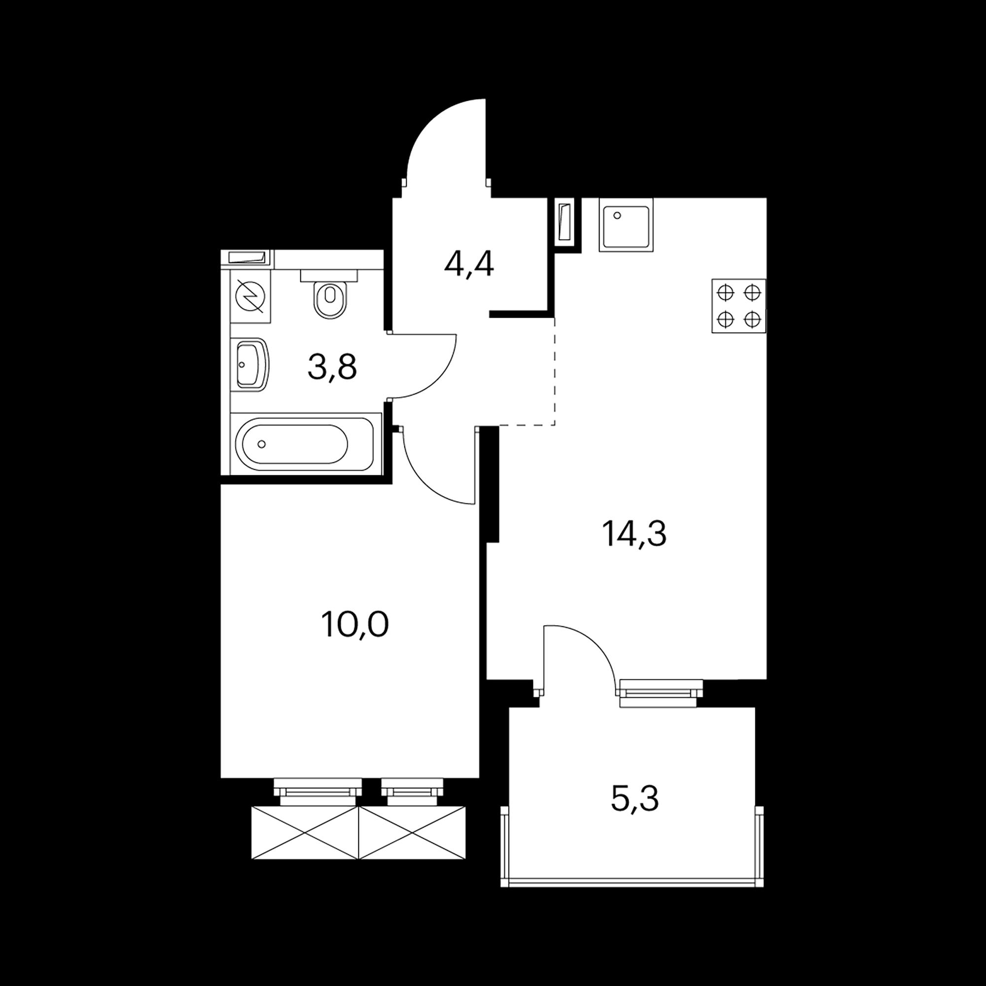 1-комнатная 35.2  м²