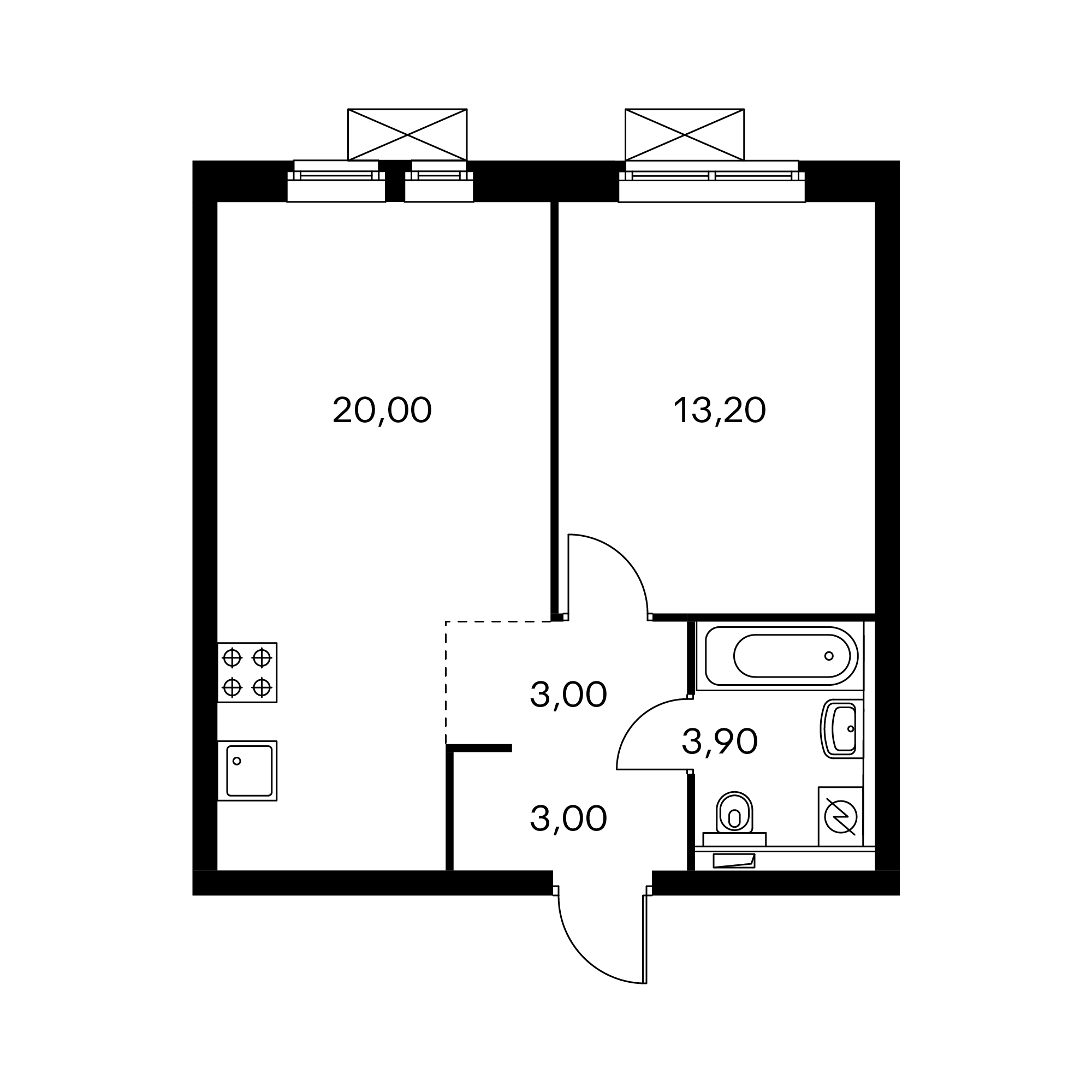 1-комнатная 43.1  м²