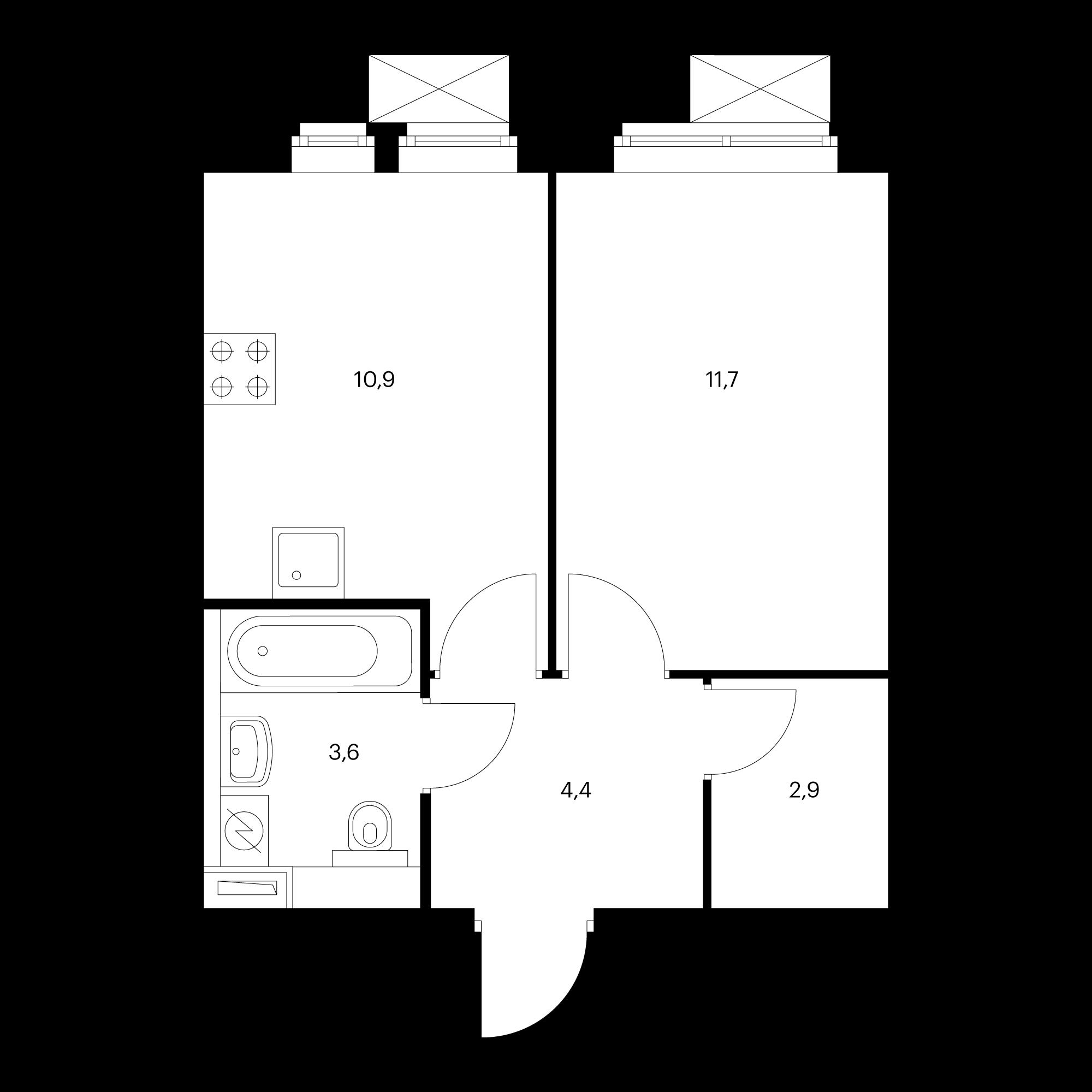 1-комнатная 33.5  м²